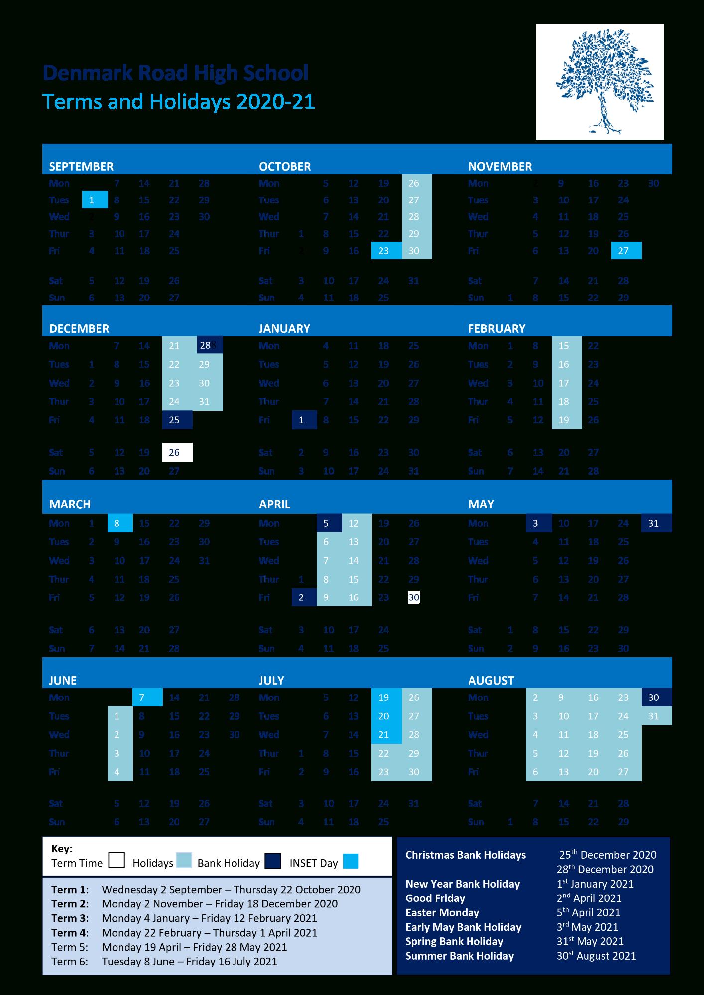 Denmark Road High School  Term Dates, Calendar & School Day with regard to Matravers School Calendar