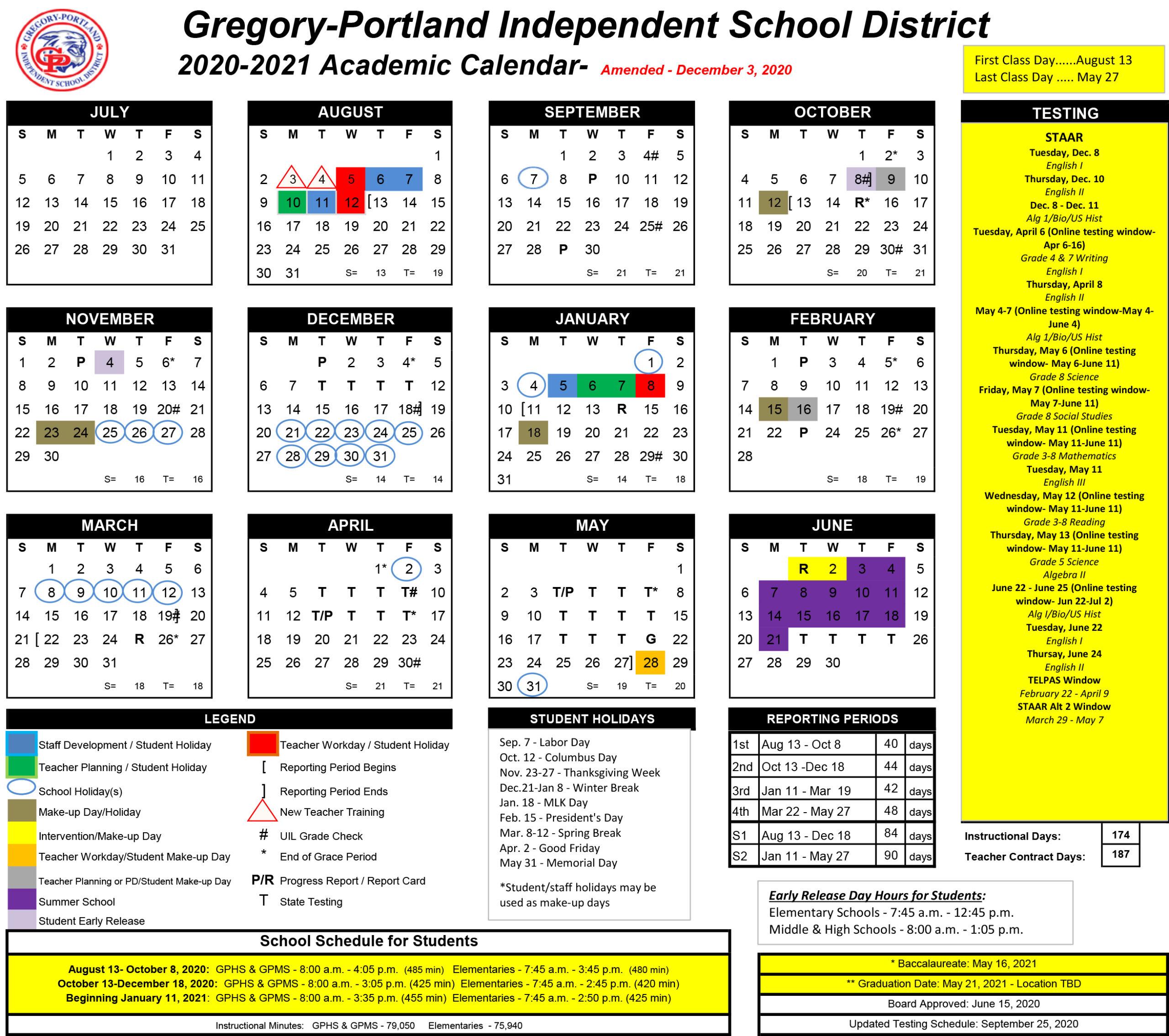 District Calendar, 202021  Gregoryportland Independent with regard to Sfasu School Calendar