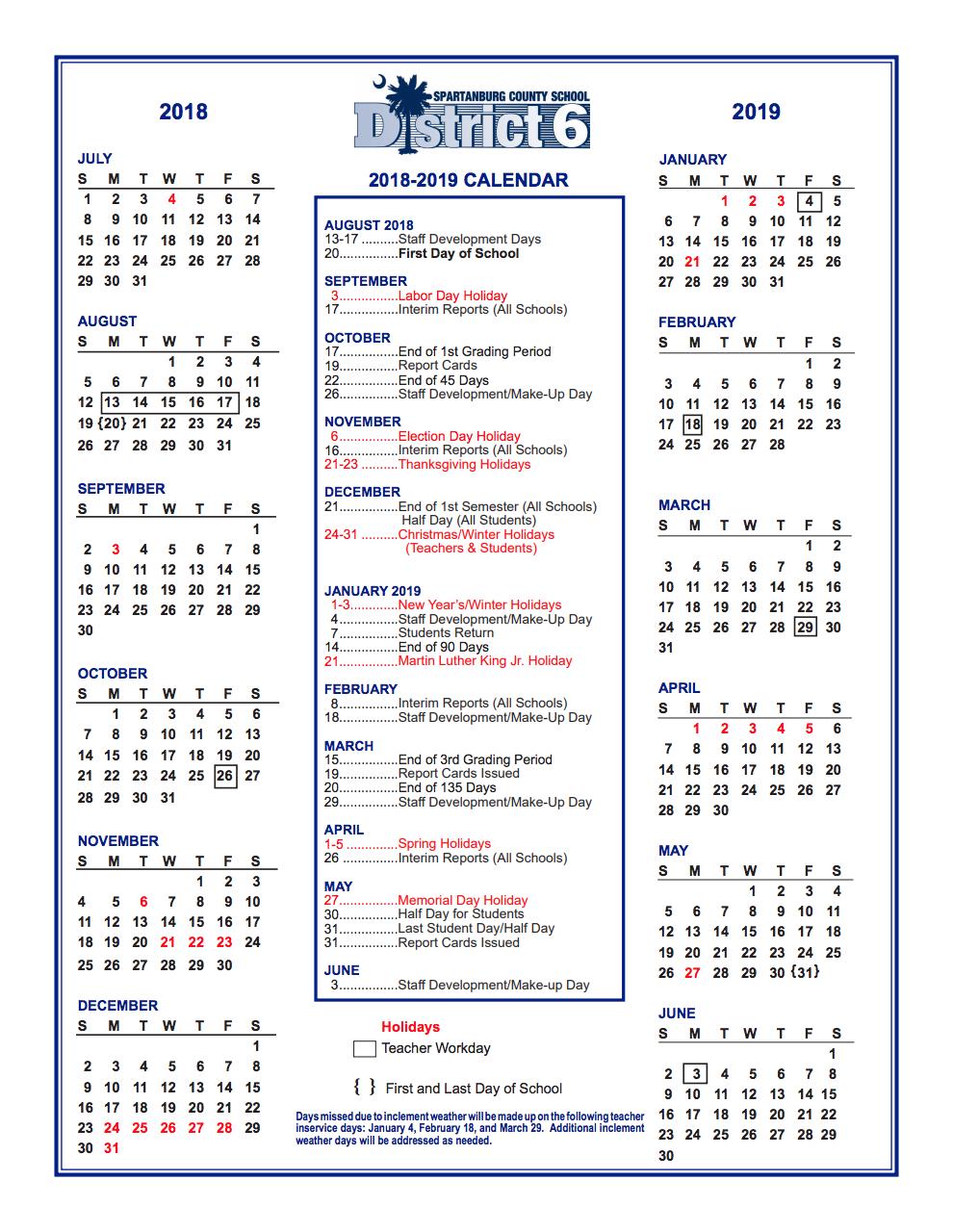 District Calendar – Parents – West View Elementary regarding Spartanburg School District 3 Calendar