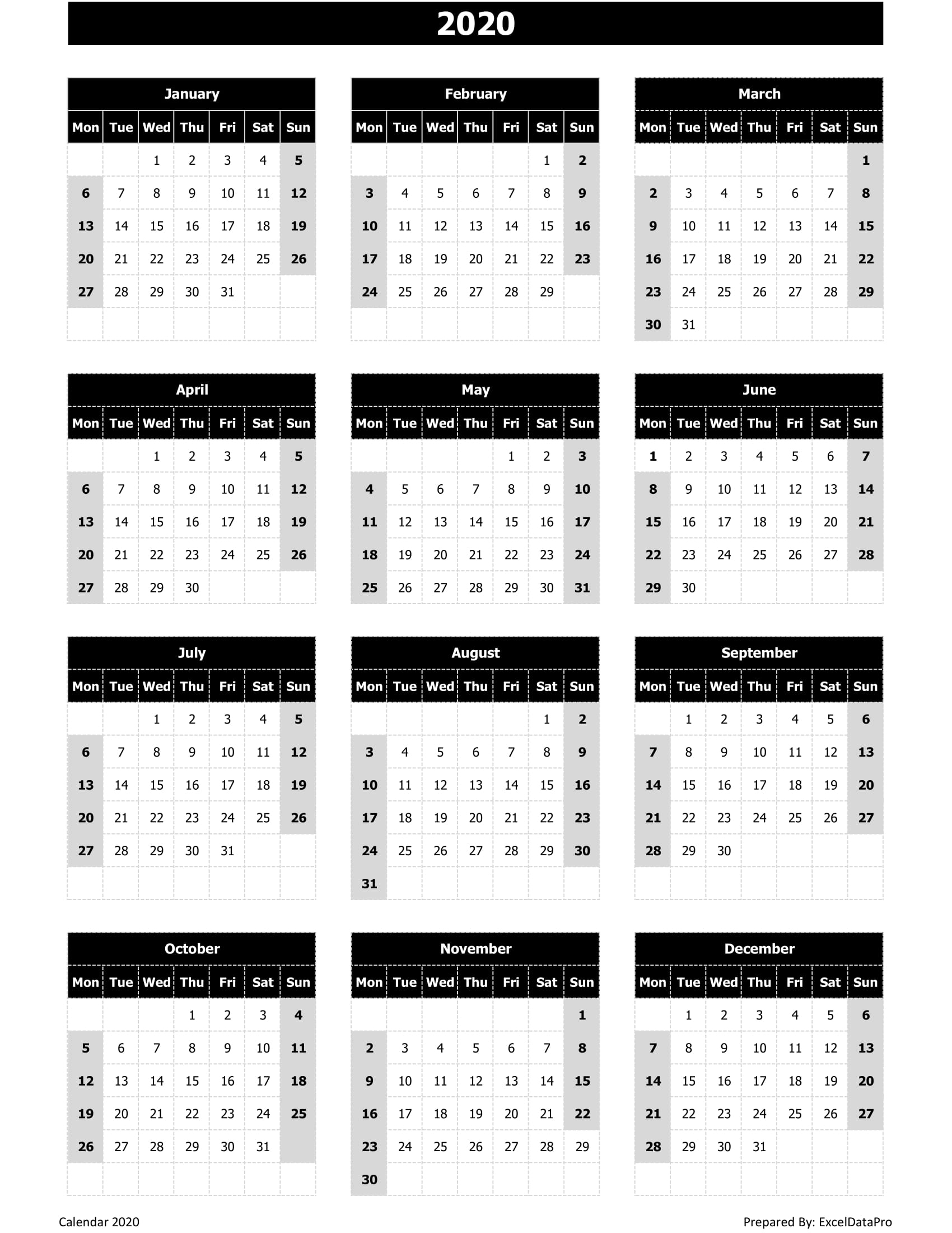 Download 2020 Yearly Calendar (Mon Start) Excel Template with Monday To Sunday Calendar