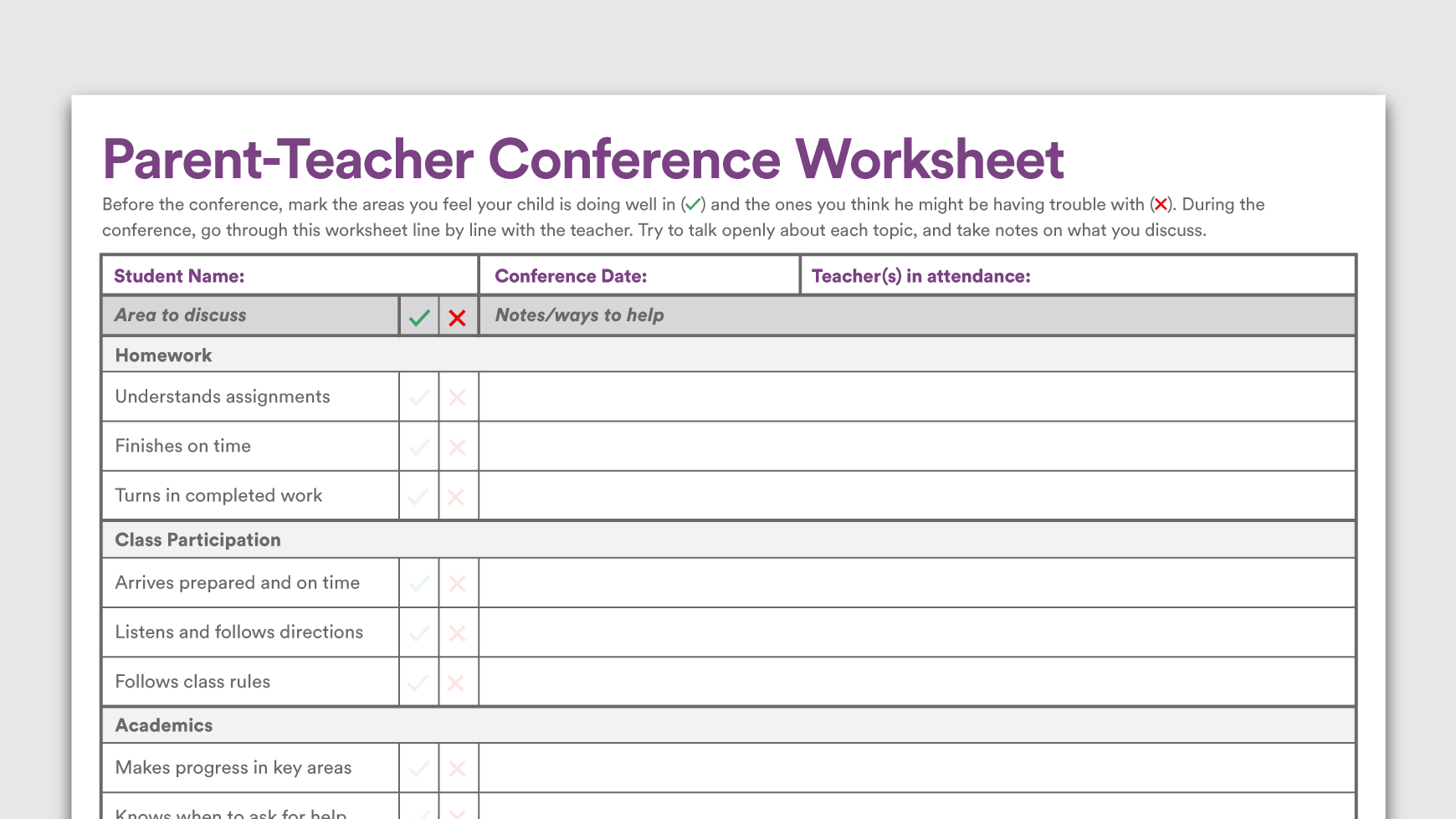 Download: Parentteacher Conference Worksheet | Parents As with regard to Conference Planning Worksheet