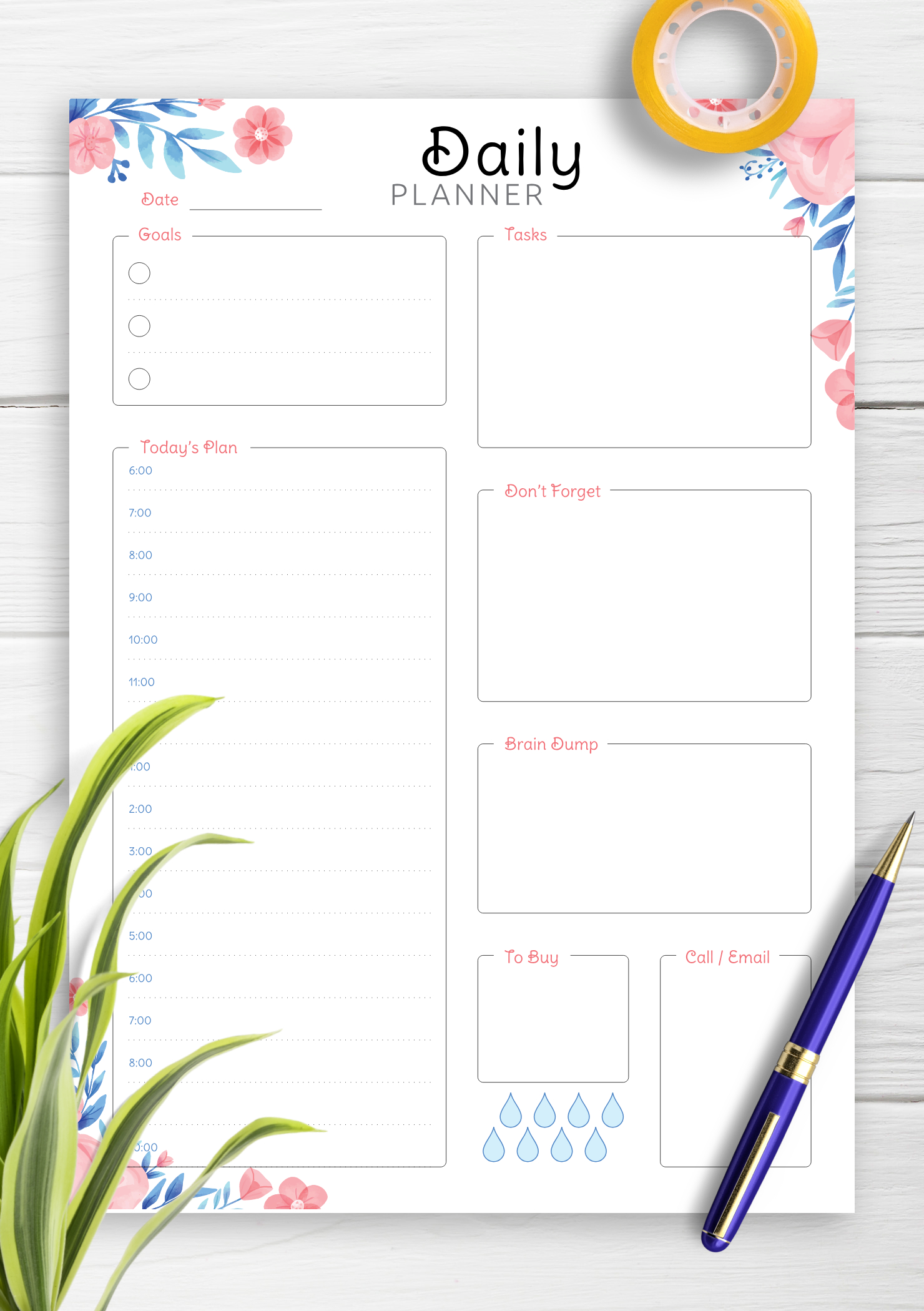 Download Printable Hourly Planner With Daily Tasks & Goals Pdf with regard to Free Printable Hourly Calendar