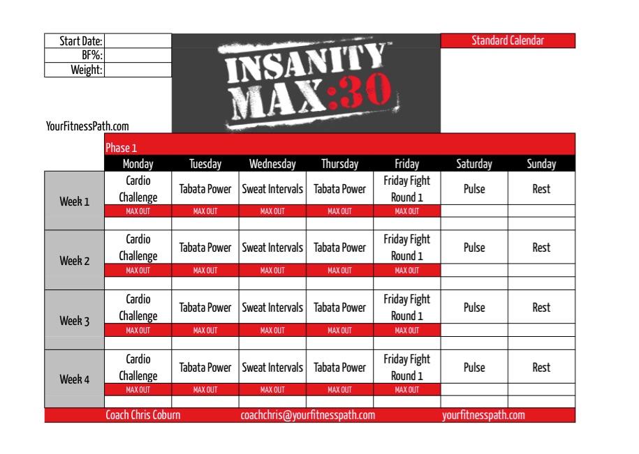 รีวิวโปรแกรมออกกำลังกาย Insanity Max:30 การกลับมาของ Shaun intended for Insanity Max 30 Hybrid Calendar