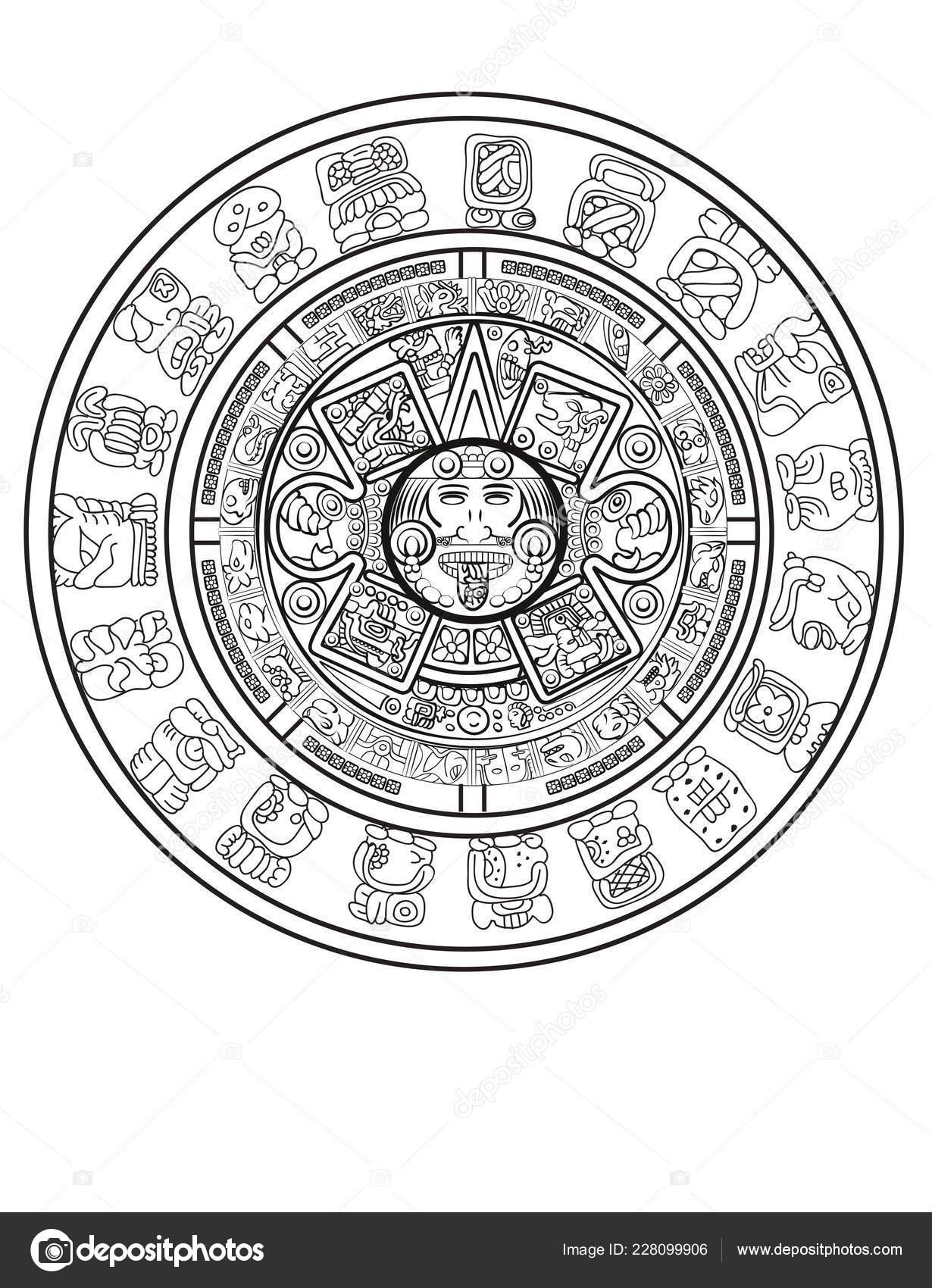 ᐈ Aztec Calendar Symbols Stock Vectors, Royalty Free Aztec inside Aztec Calendar Template