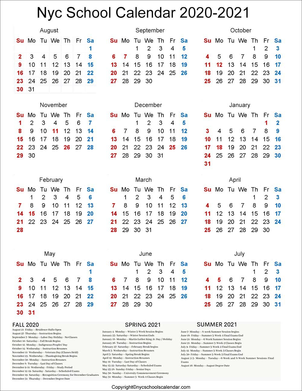 ❤️Nyc School Holidays Calendar 20202021 ✅ for Carthage Mo School Calendar