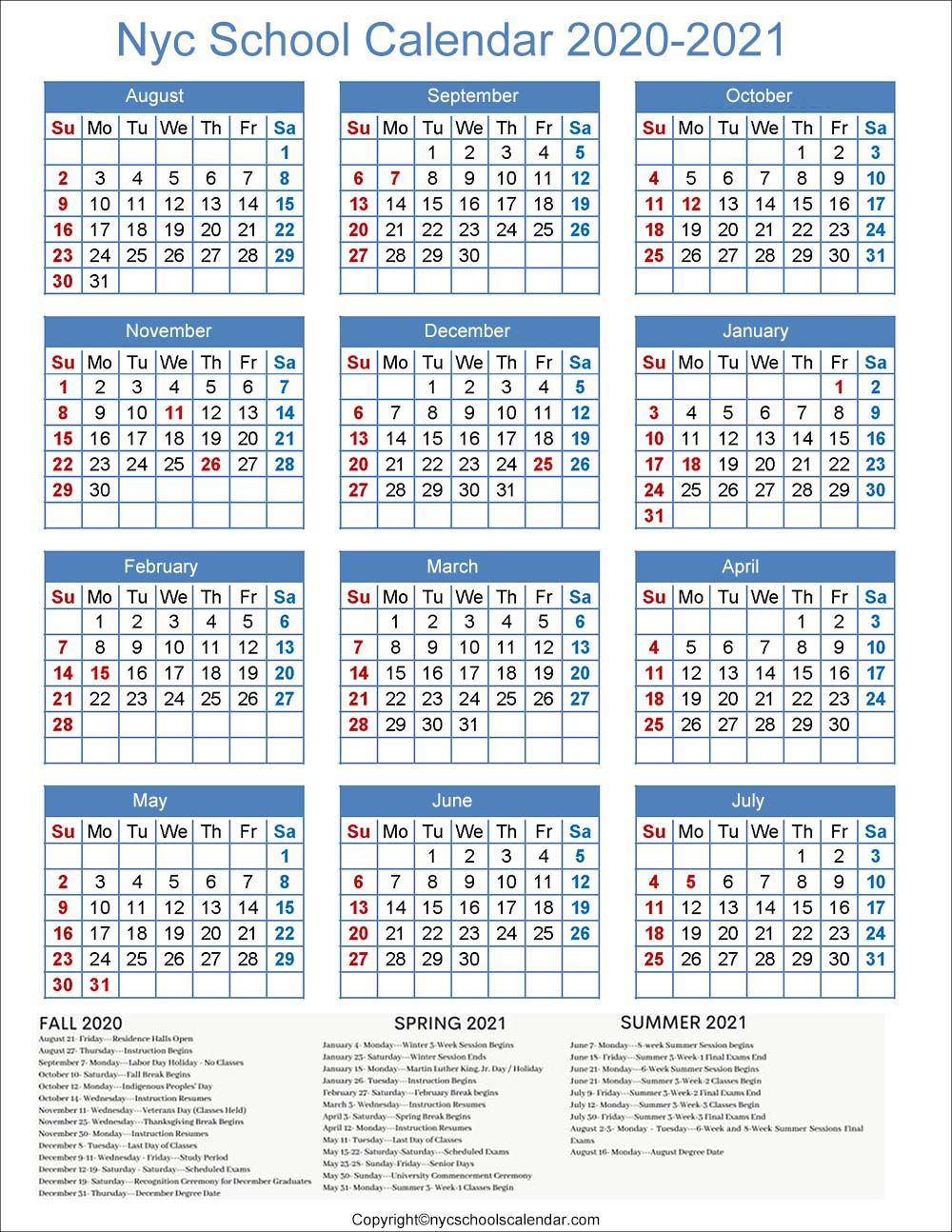 ❤️Nyc School Holidays Calendar 20202021 ✅ pertaining to Carthage Mo School Calendar