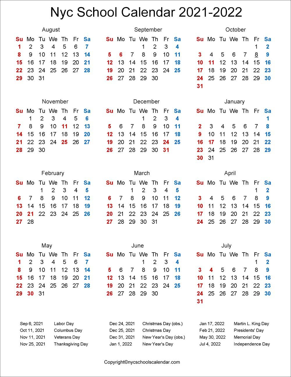 ❤️Nyc School Holidays Calendar 20212022 ✅ with Carthage Mo School Calendar