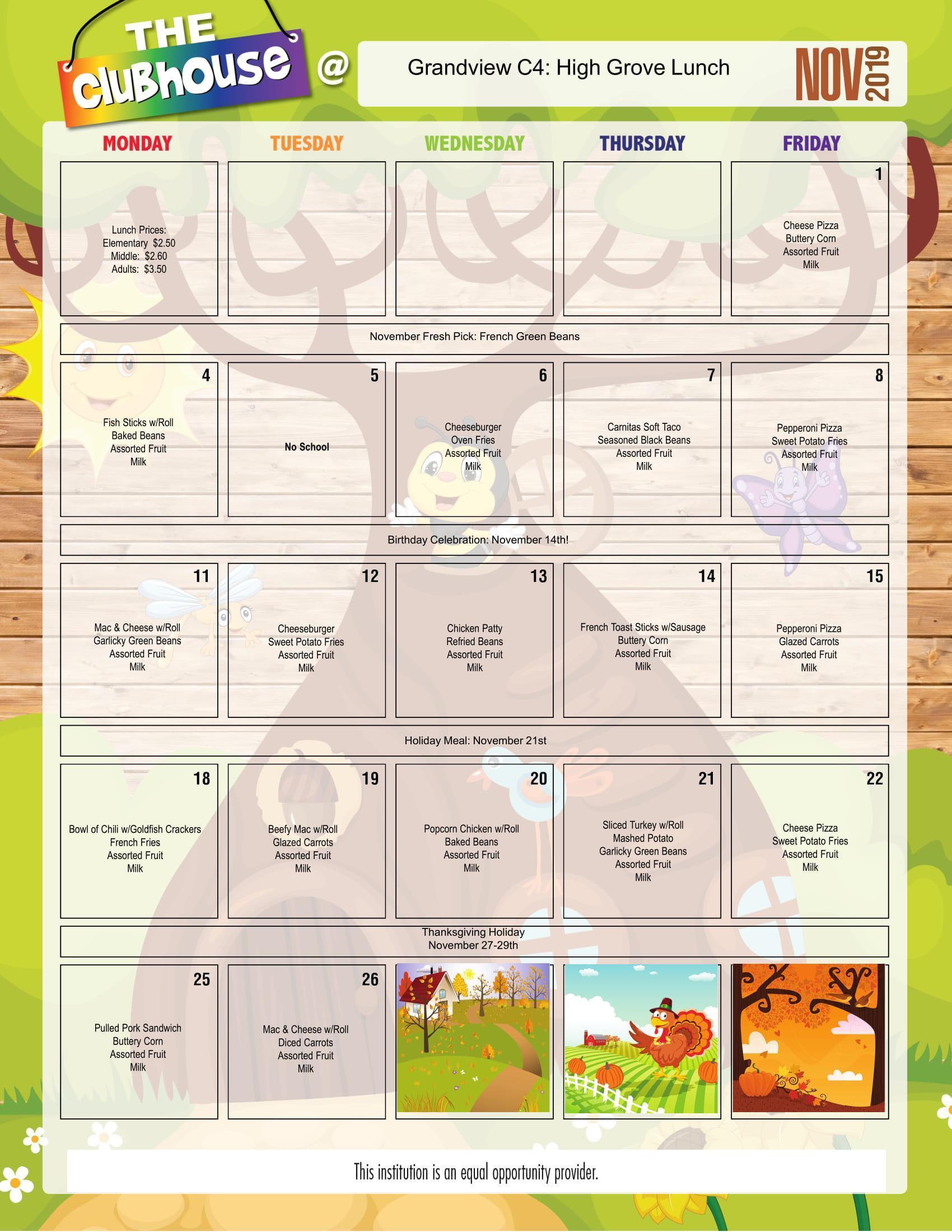 Early Childhood Breakfastlunch  Breakfastlunch Menus throughout Grandview School District Calendar