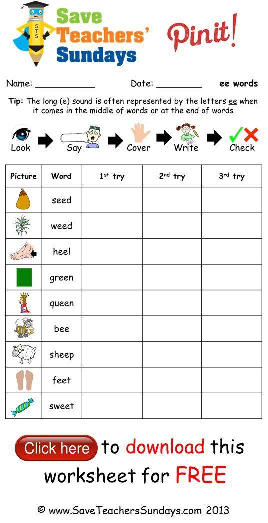 Ee Spelling Worksheet  Http:www.saveteacherssundays within Hebrew Calendar Worksheets And How To Make One