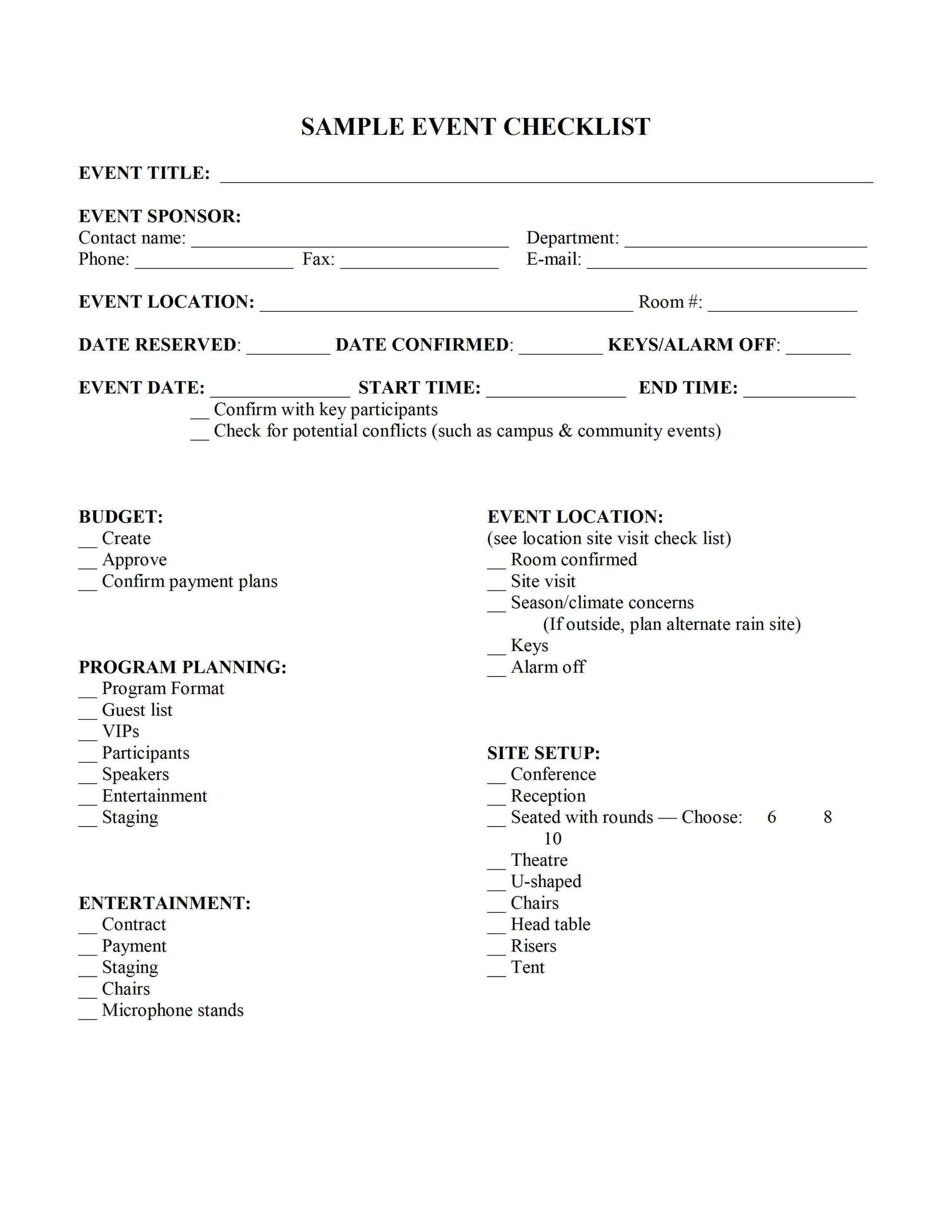 Event Planning Checklist Template in Corporate Event Planning Checklist Template