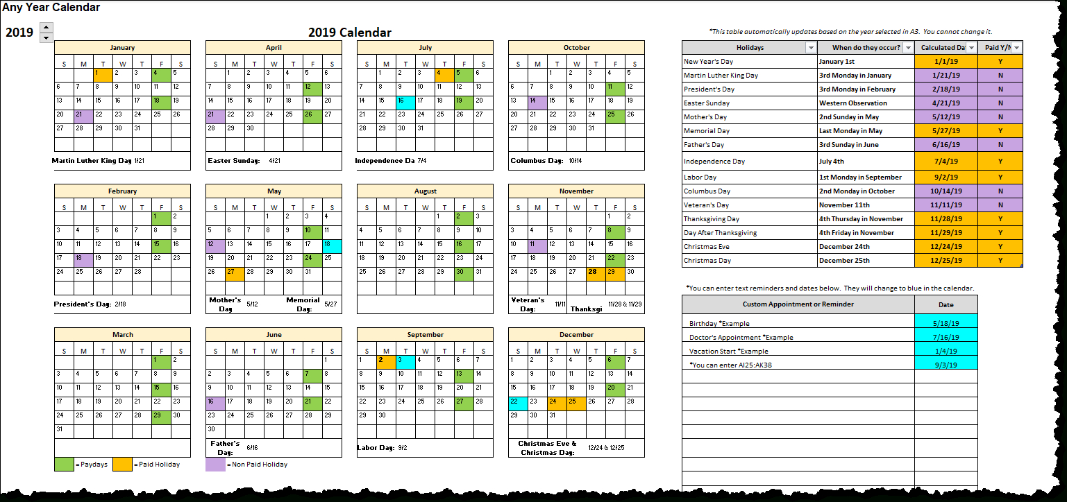 Excel Calendar With Holidays And Appointments  Xelplus throughout Convert List Of Dates To Calendar Excel