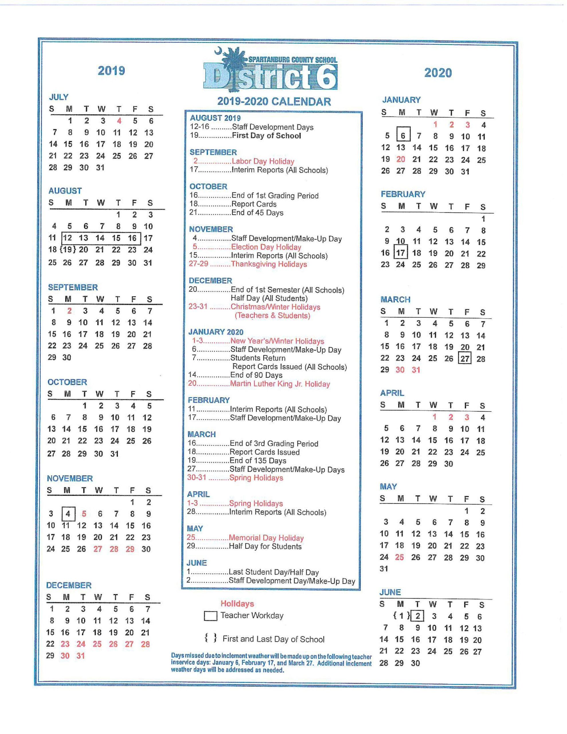 Fairforest Elementary in Spartanburg School District 3 Calendar