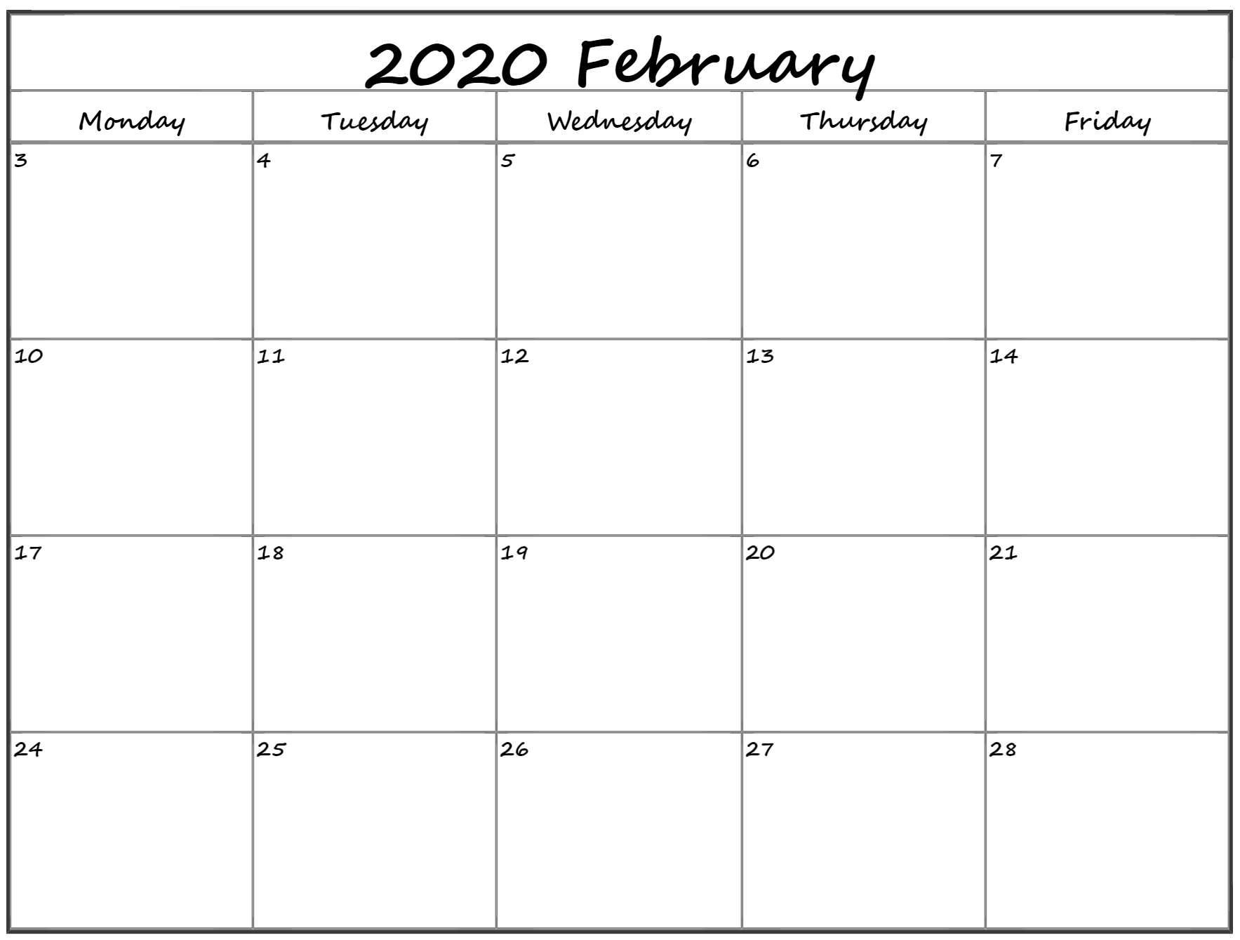 February 2020 Monday Calendar | Monday To Sunday for Free Printable Calendar Monday Through Friday
