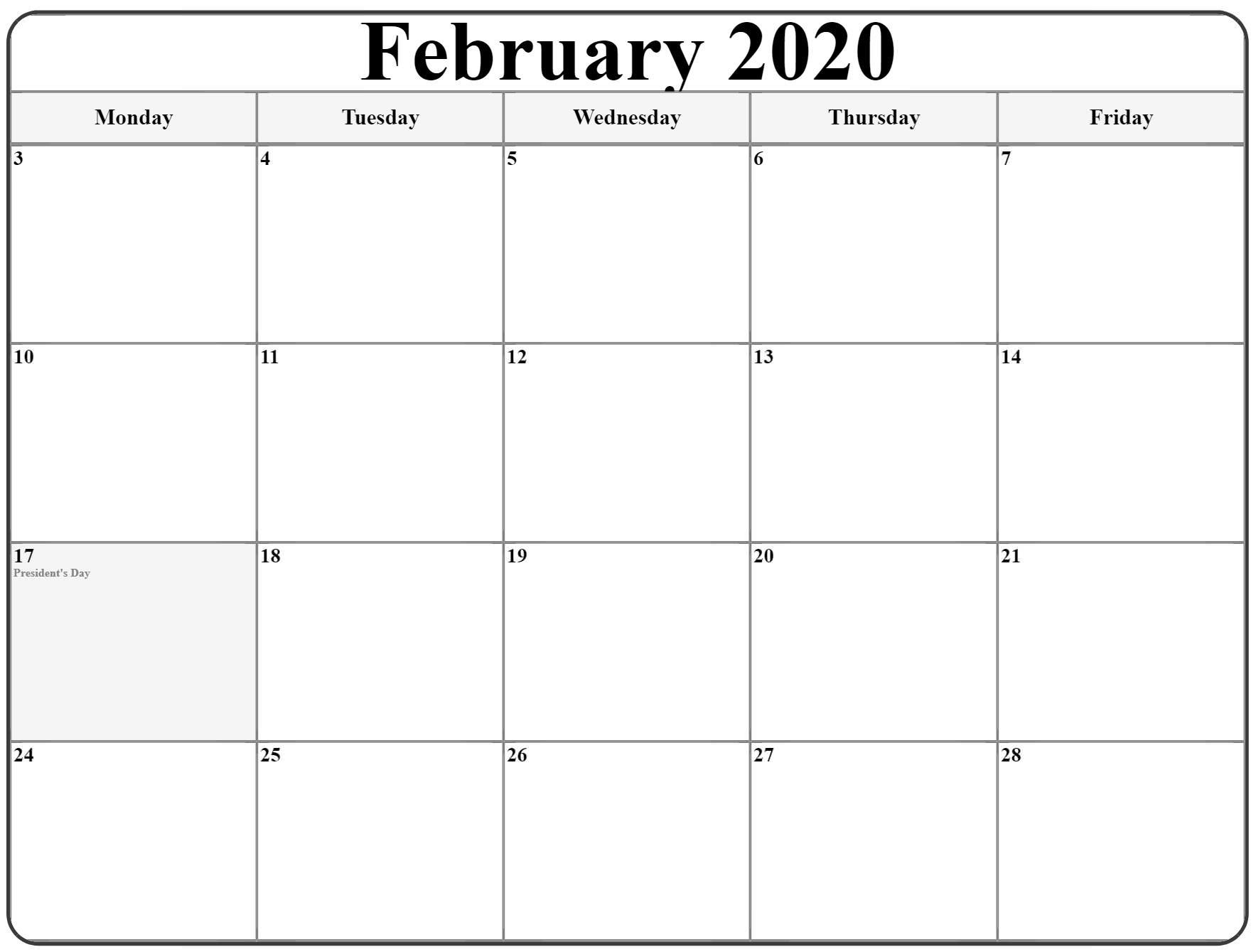 February 2020 Monday Calendar | Monday To Sunday in Monday To Friday Calendar
