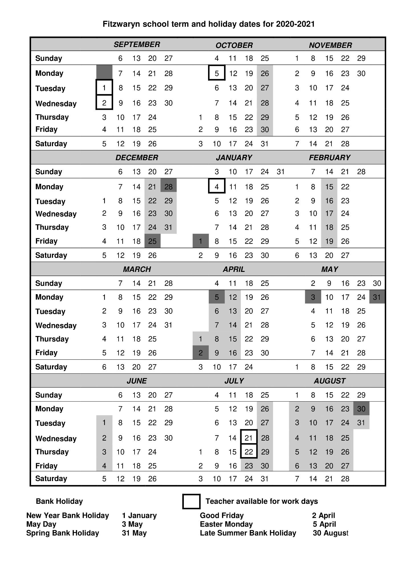 Fitzwaryn School  Term Dates throughout Matravers School Calendar