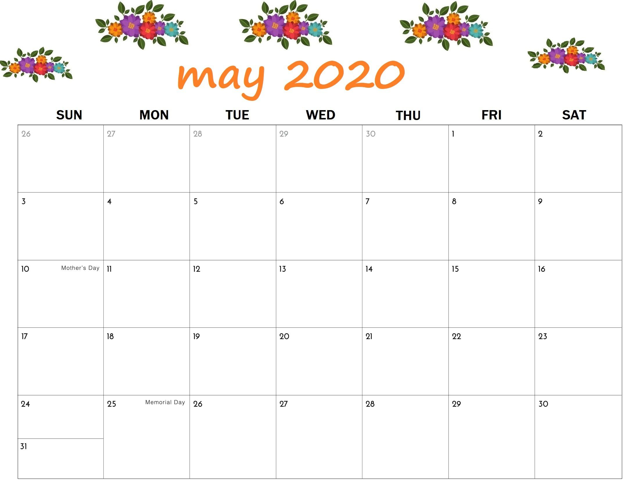 Floral May Calendar 2020 In 2020 | Calendar Printables intended for Free Printable 5 Day Monthly Calendar