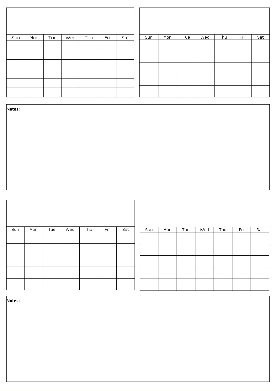 Four Months On A Page Blank Calendar Template pertaining to Free Printable Calendar 4 Months Per Page