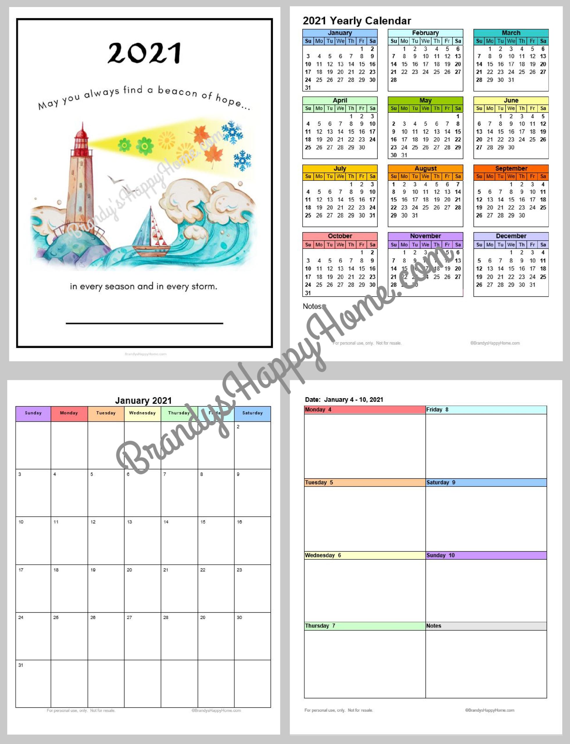 Free 2021 Calendar Planner Printables in 5.5 X 8.5 Calendar Template