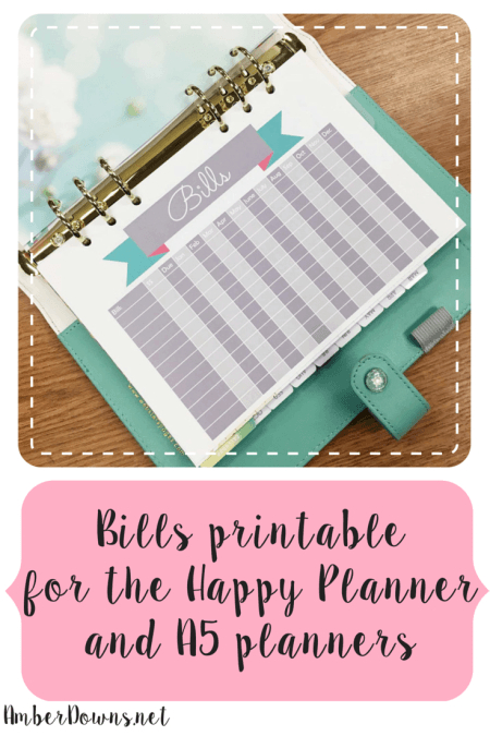 Free Bills Printable For The Happy Planner And A5 Planners with regard to Happy Planner Bill Pay Checklist