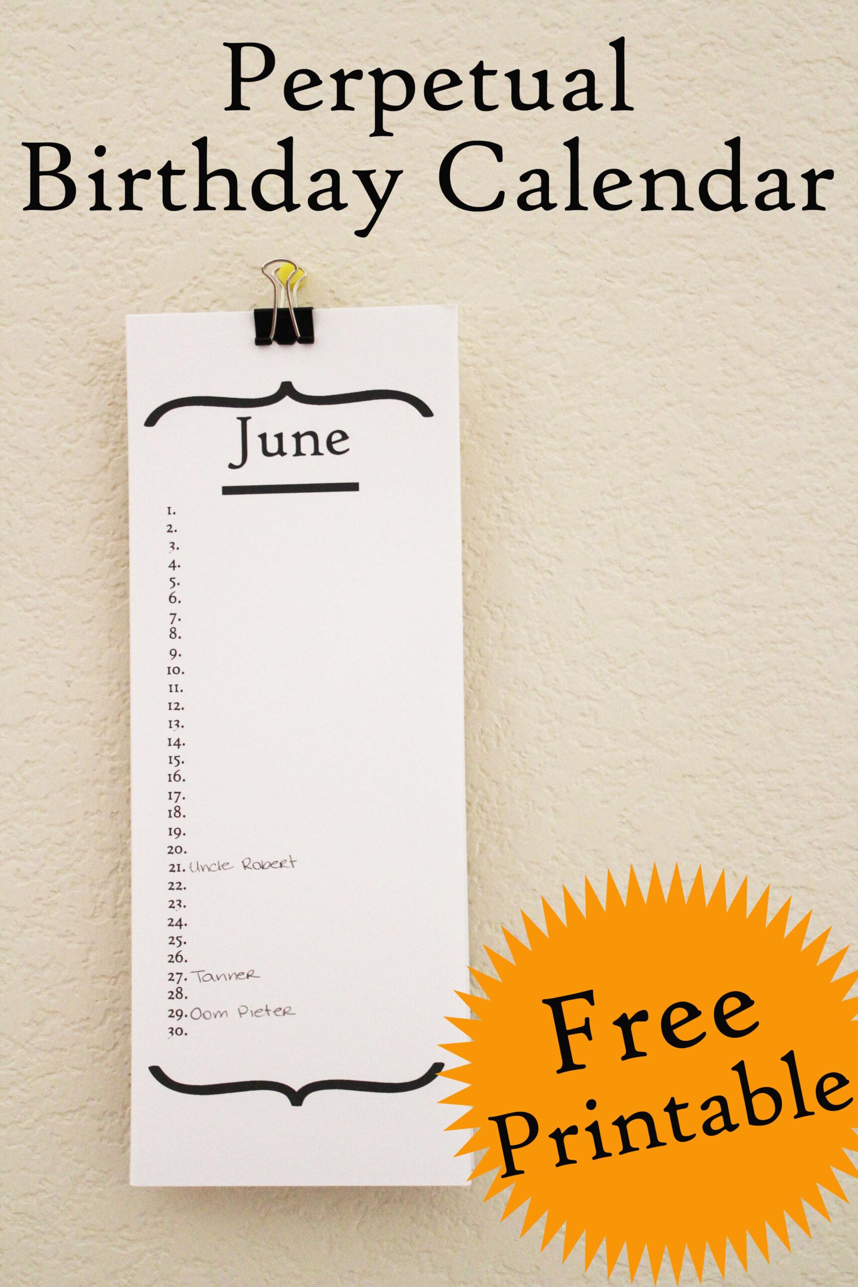Free Birthday Calendar Printable  30 Minute Crafts in Free Perpetual Calendar Printable