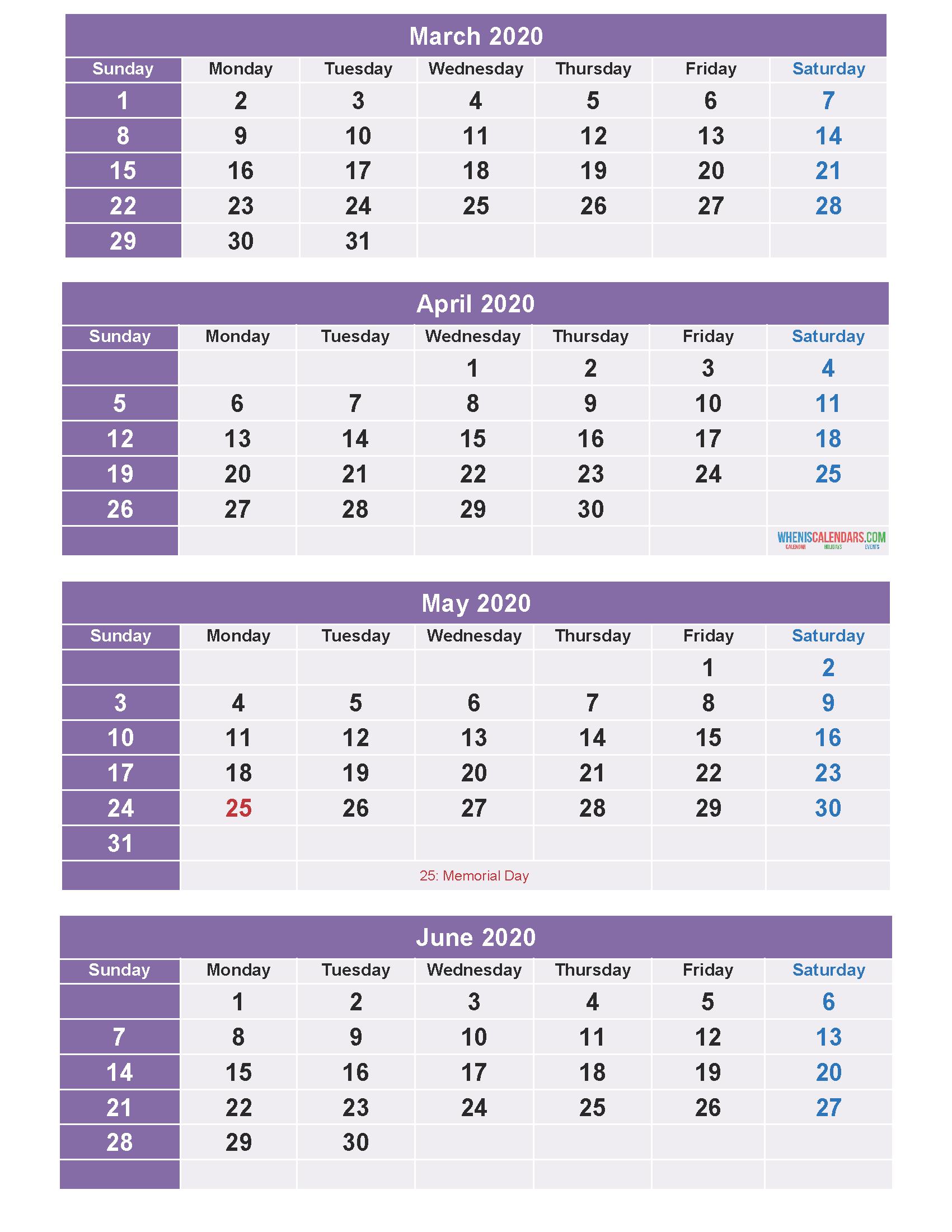 Free Calendar 2020 March April May June 4 Months Calendar inside Free Printable 4 Month Calendar