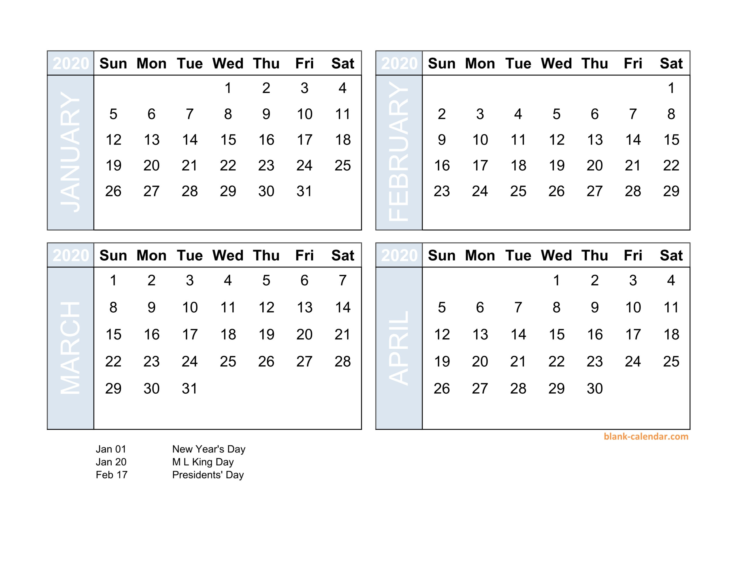Free Download 2020 Excel Calendar Four Month In Landscape Format with Free Printable 4 Month Calendar
