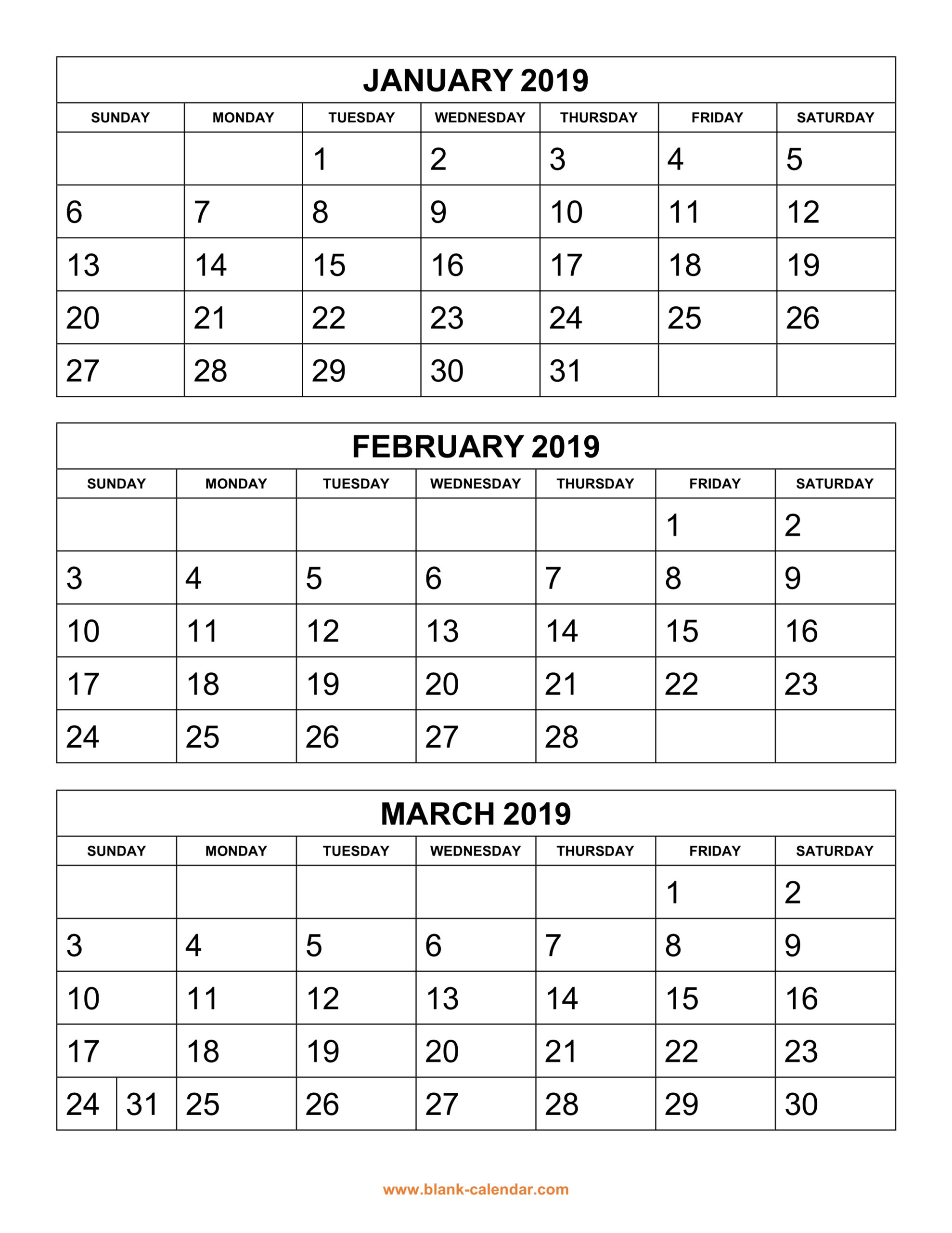 Free Download Printable Calendar 2019, 3 Months Per Page, 4 pertaining to Free Printable Calendar 4 Months Per Page