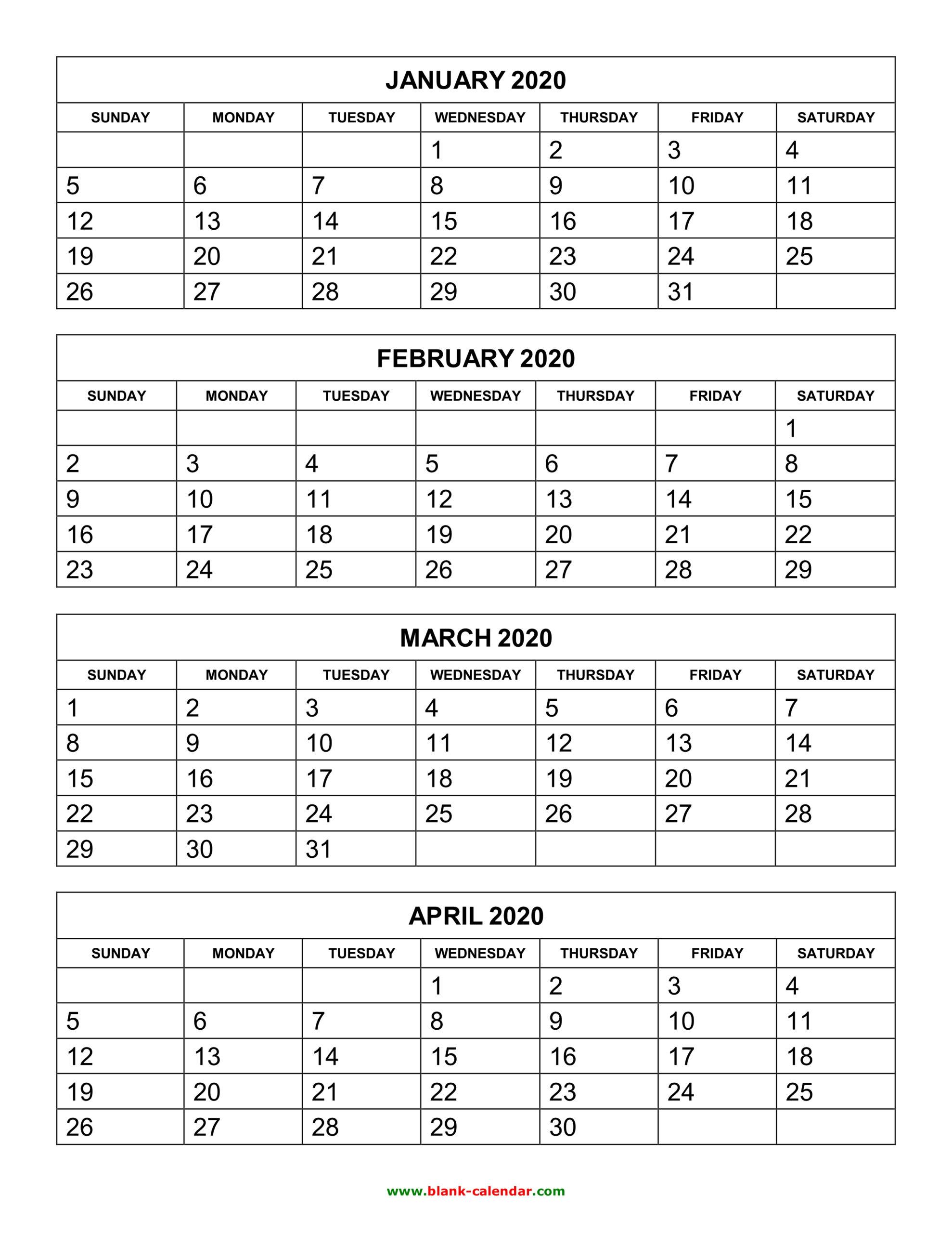 Free Download Printable Calendar 2020, 4 Months Per Page, 3 inside Free Printable Calendar 4 Months Per Page
