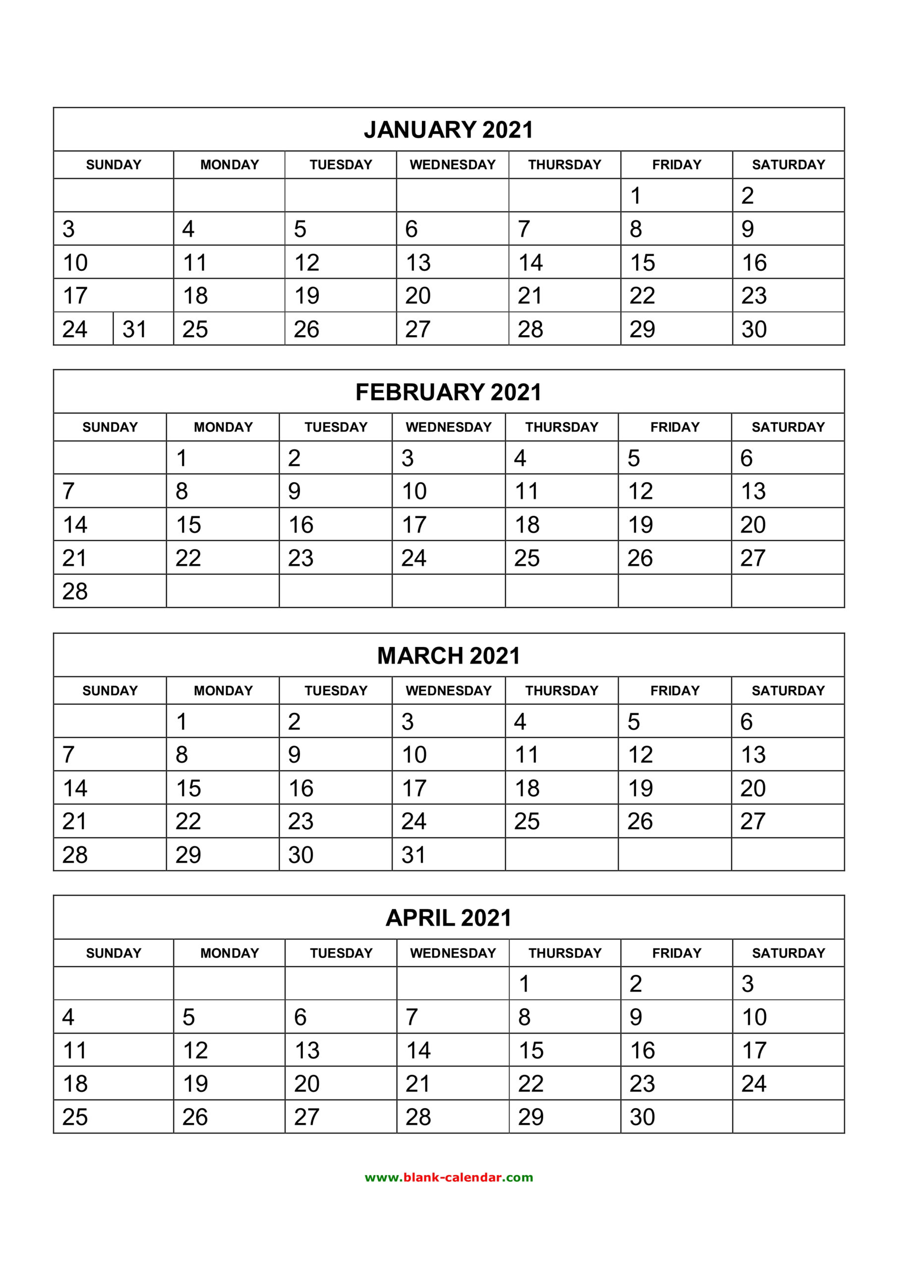 Free Download Printable Calendar 2021, 4 Months Per Page, 3 intended for Free Printable Calendar 4 Months Per Page