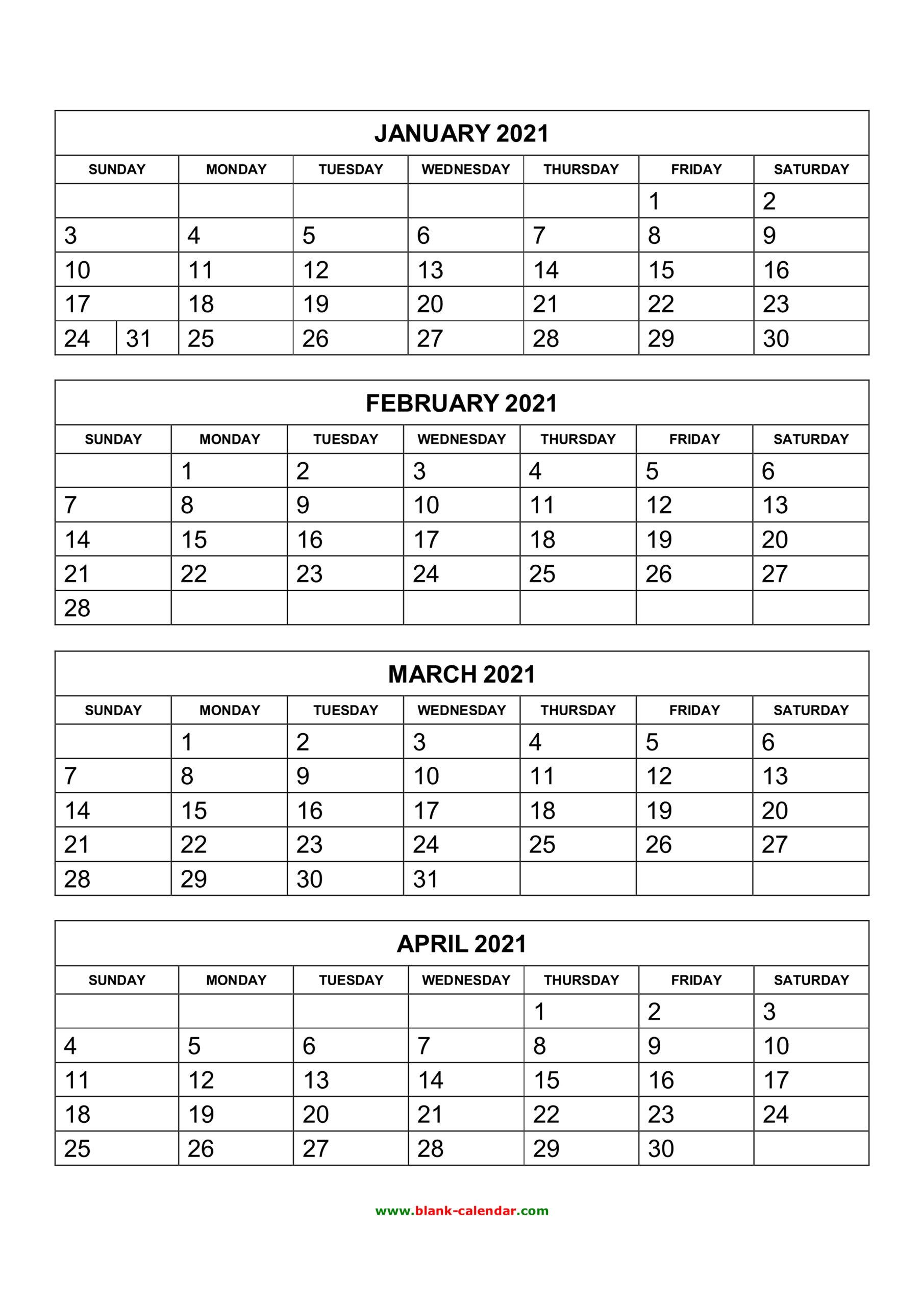 Free Download Printable Calendar 2021, 4 Months Per Page, 3 regarding Free Printable 4 Month Calendar