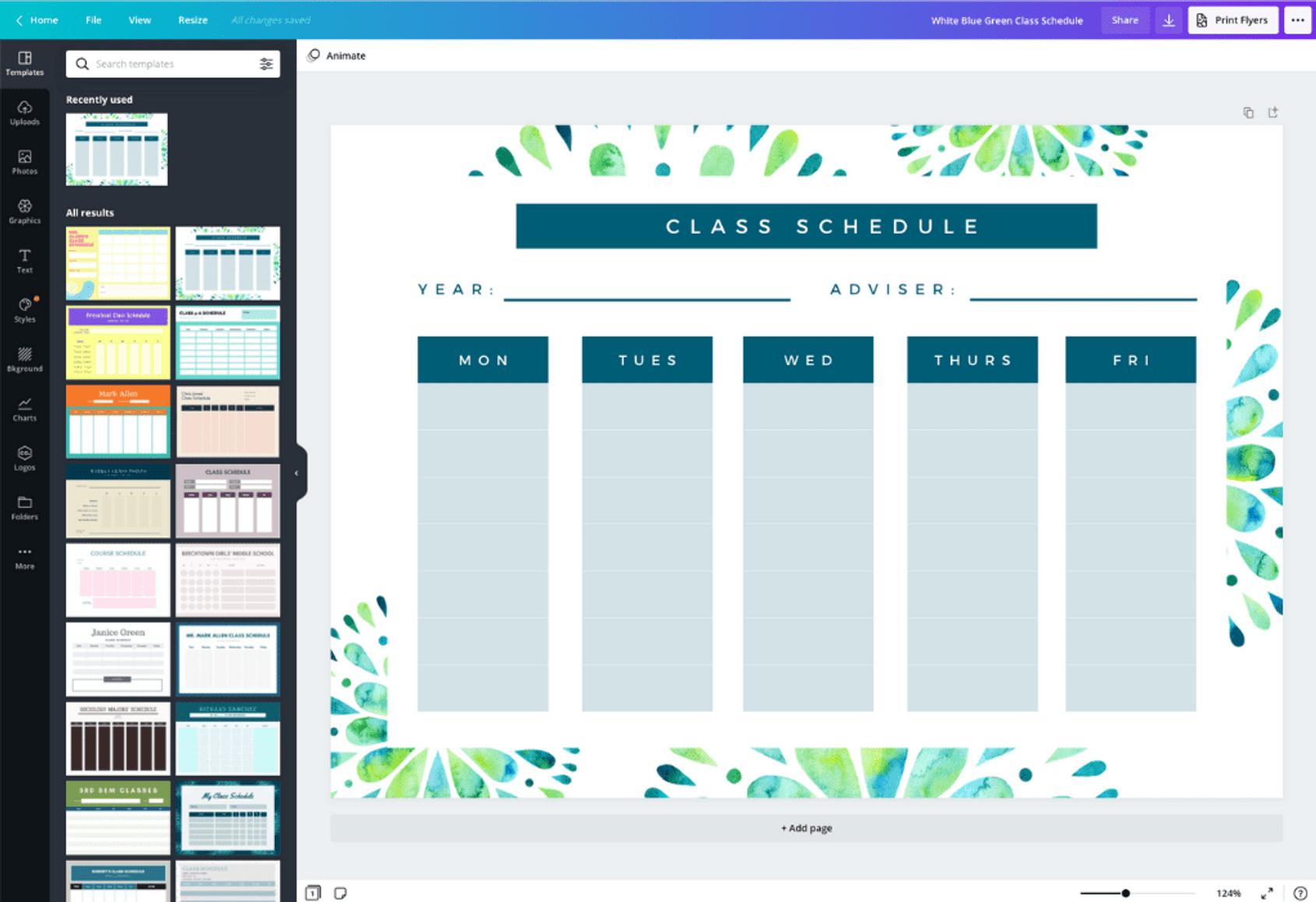 Free Online Class Schedules: Design A Custom Class Schedule pertaining to Canva Calendar Maker