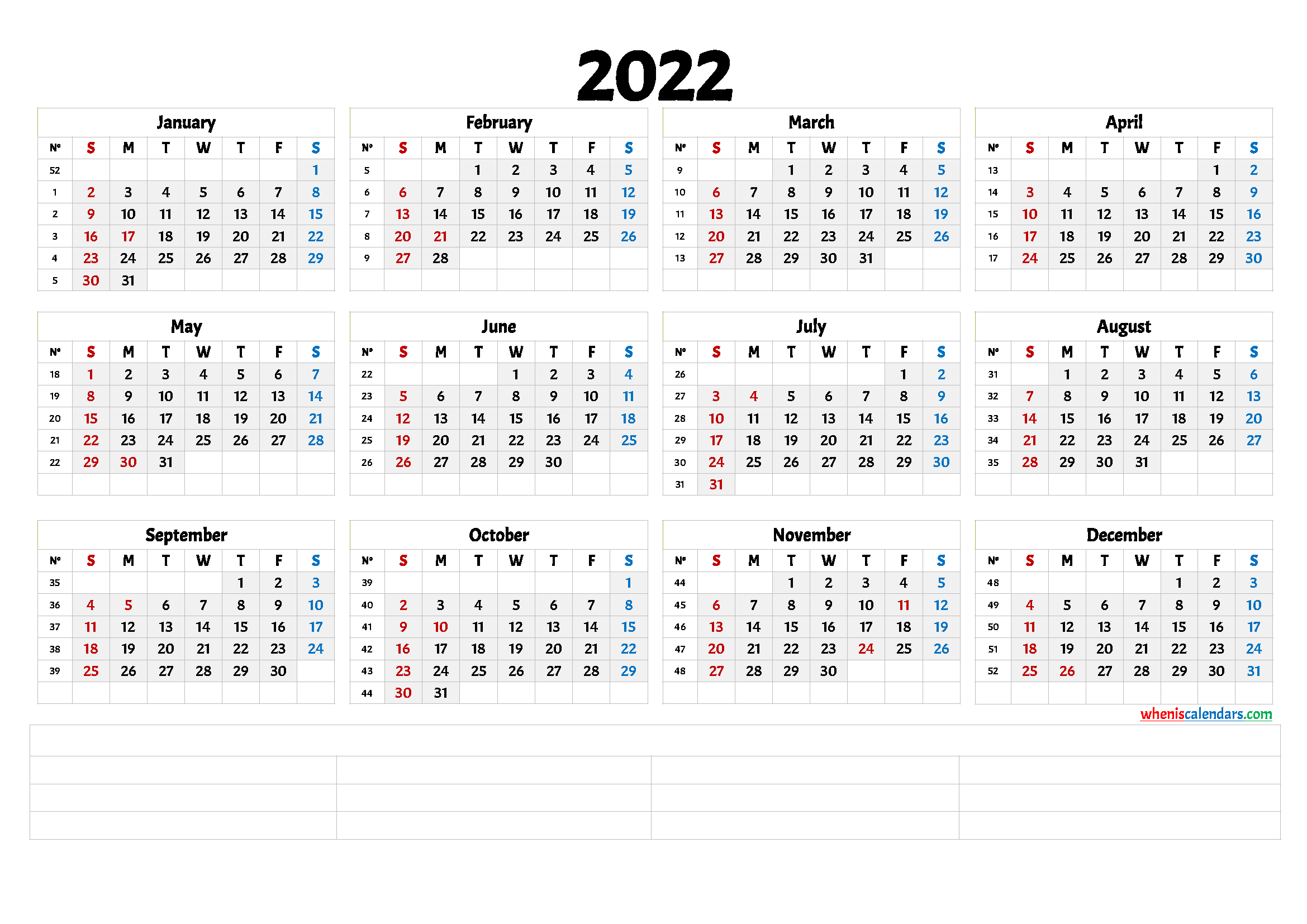 Free Printable 2022 Yearly Calendar With Week Numbers within Free Printable Calendar Numbers