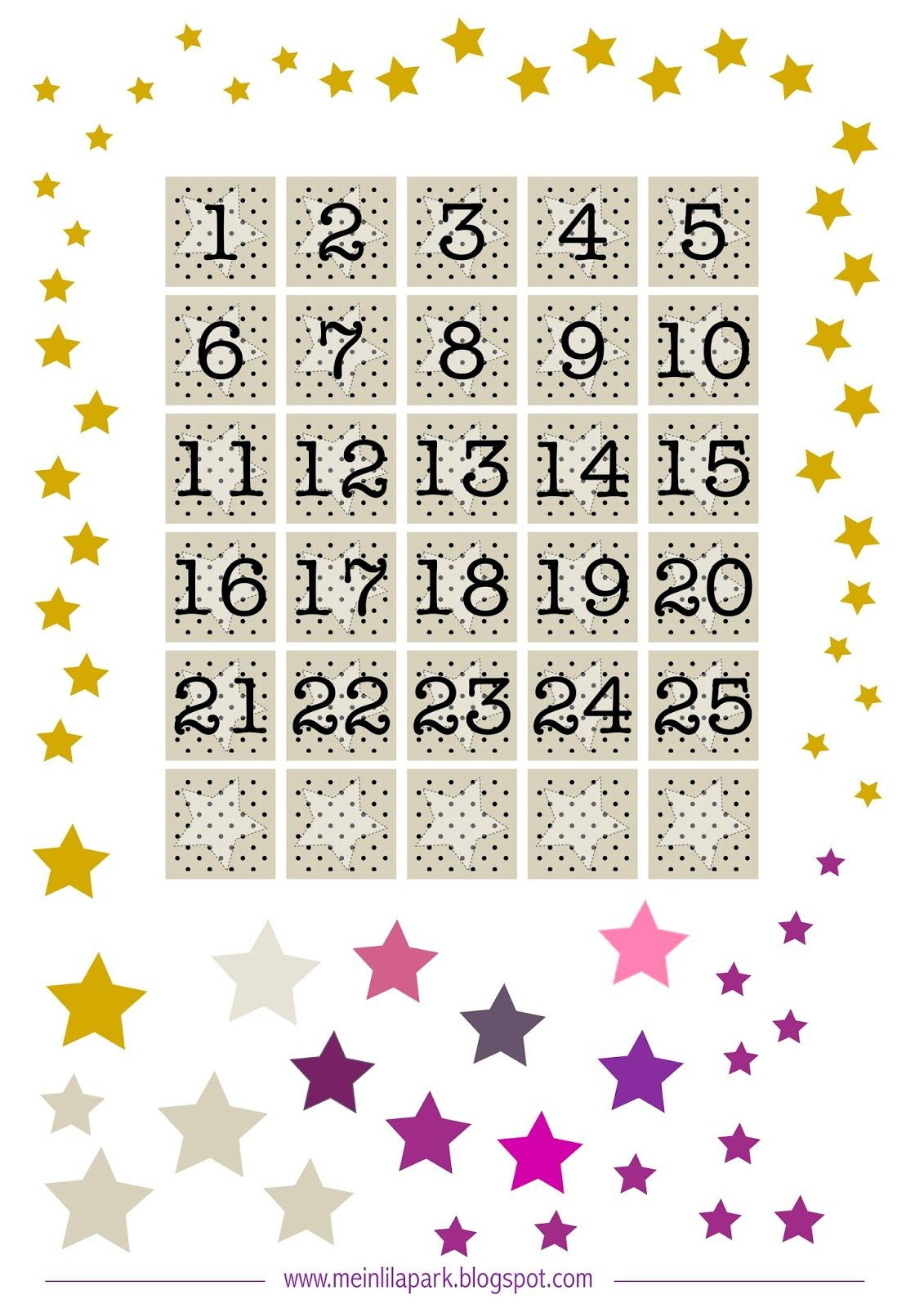 Free Printable Advent Calendar Numbers And Stars throughout Free Printable Calendar Numbers
