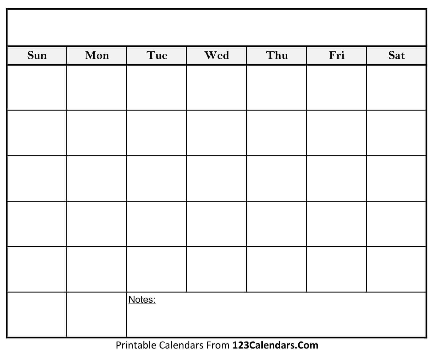 Free Printable Blank Calendar | 123Calendars pertaining to Empty Calendar Printable
