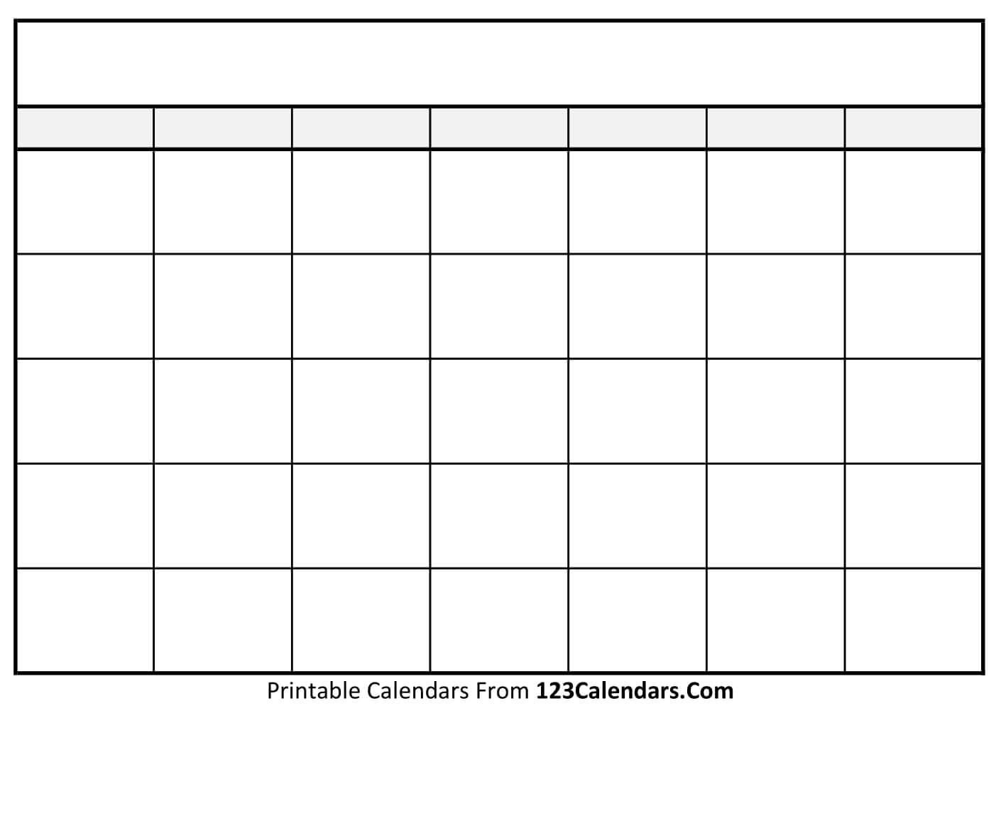 Free Printable Blank Calendar | 123Calendars with Empty Calendar Printable