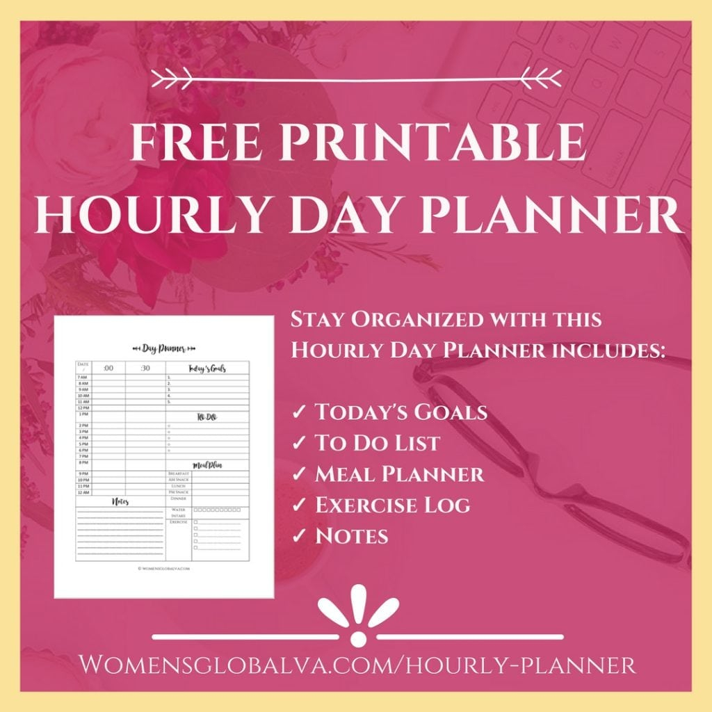 Free Printable Hourly Planner With Healthy Extras! | Womens in Free Printable Hourly Calendar