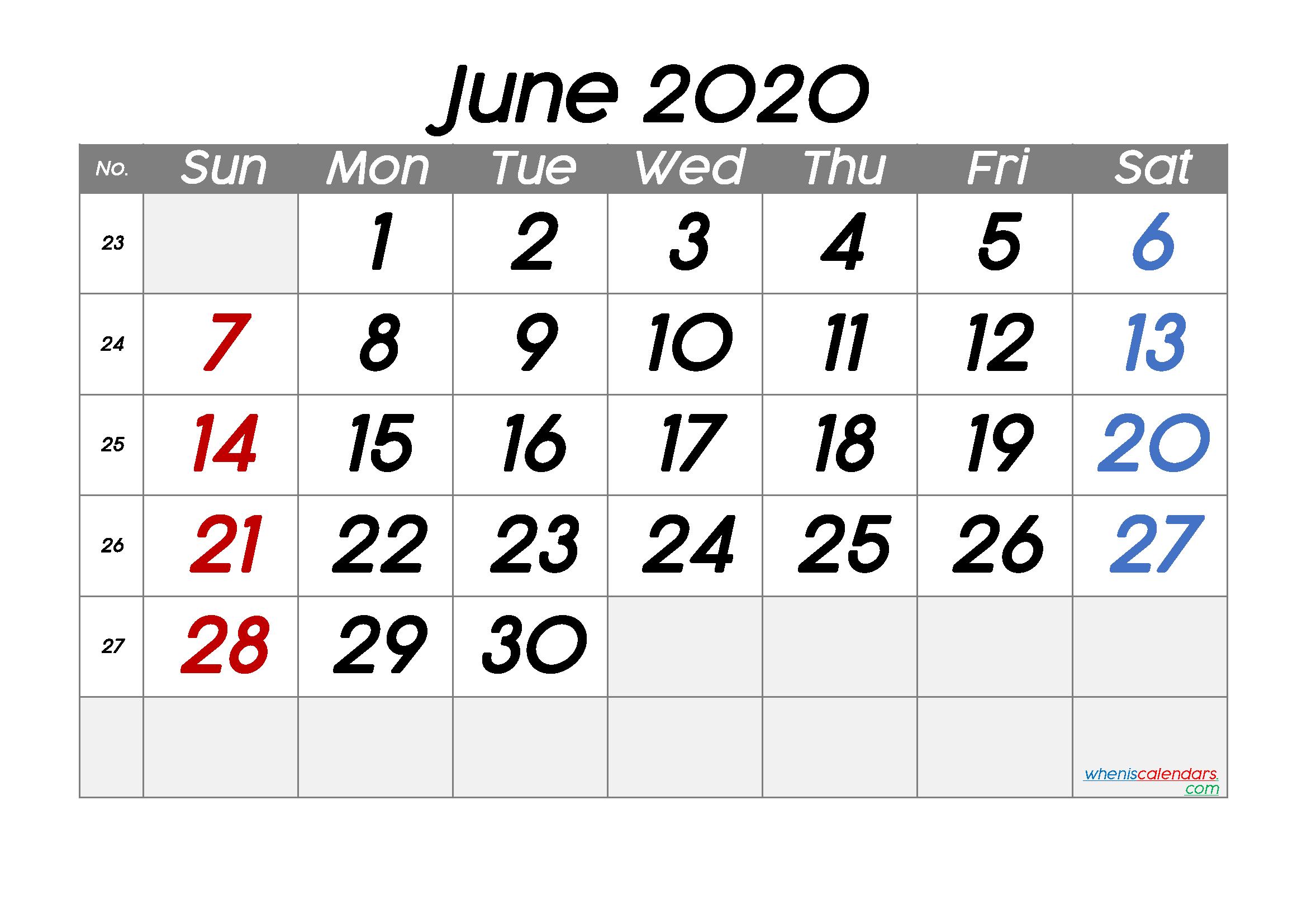 Free Printable June 2020 Calendar With Week Numbers – Free intended for Free Printable Calendar Numbers