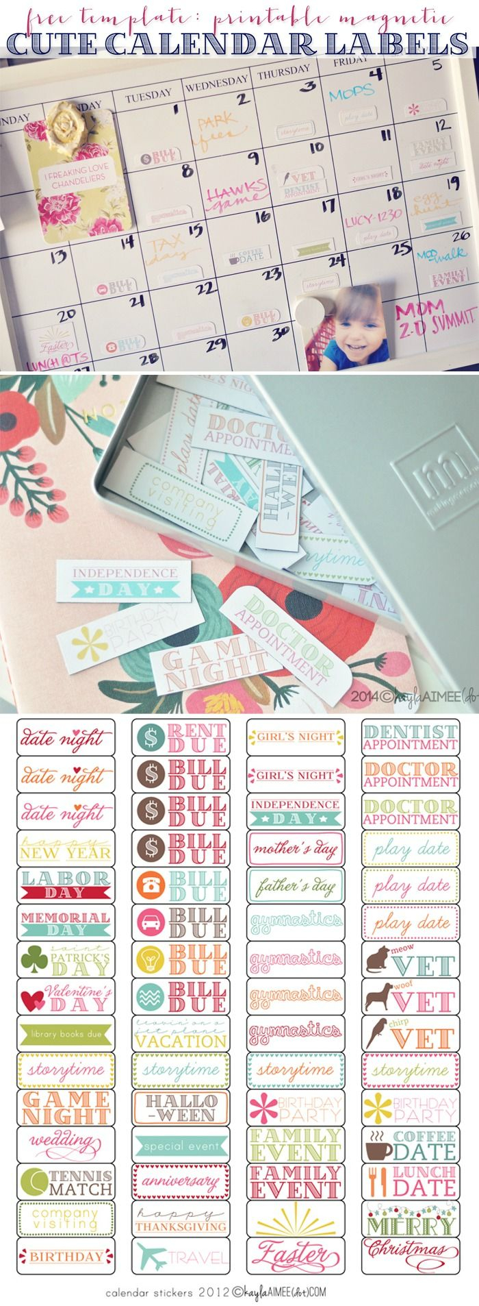 Free Printable Magnetic Calendar Label Stickers (+ A Non in Holiday Stickers For Calendars