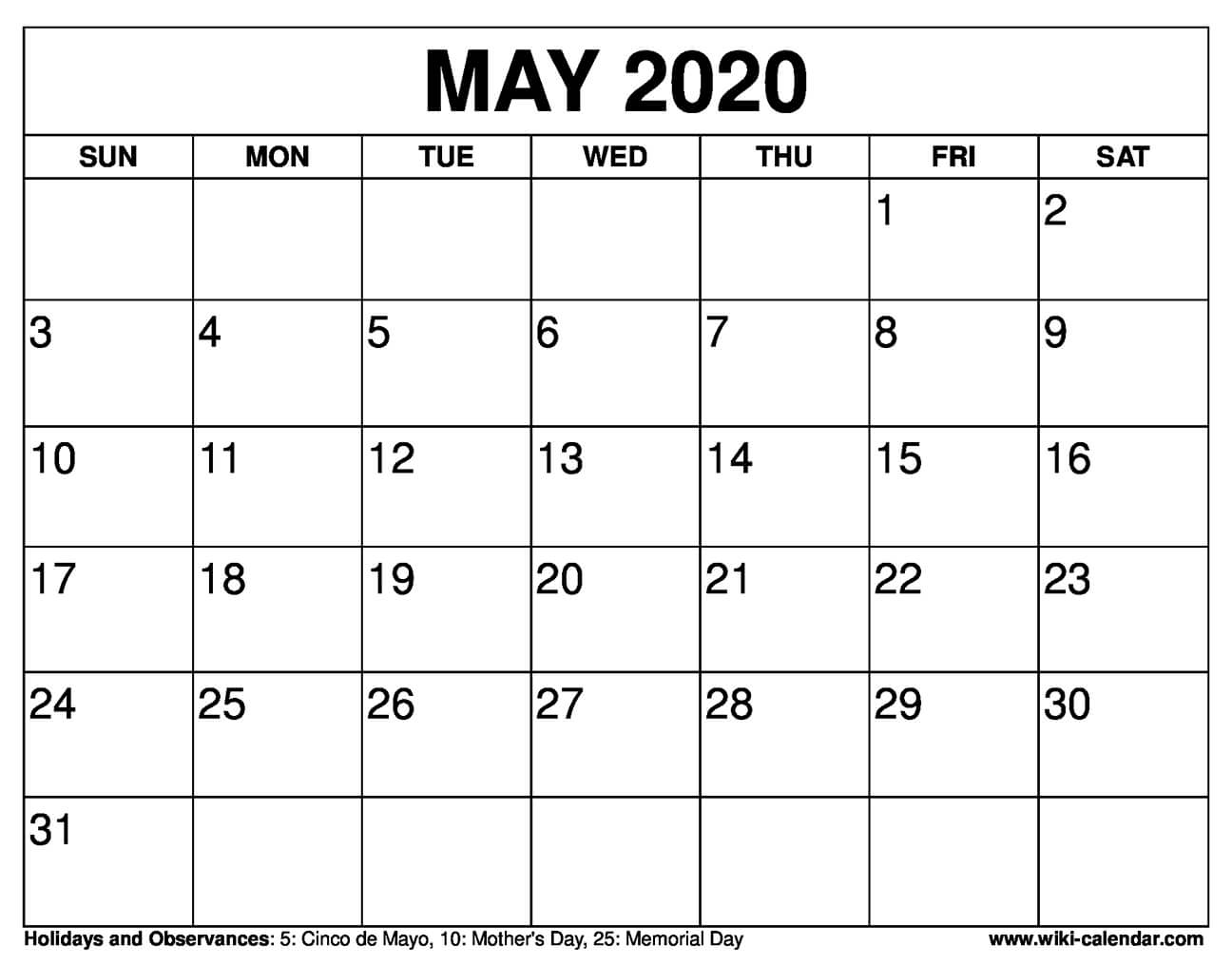 Free Printable May 2020 Calendars within Free Printable 5 Day Monthly Calendar