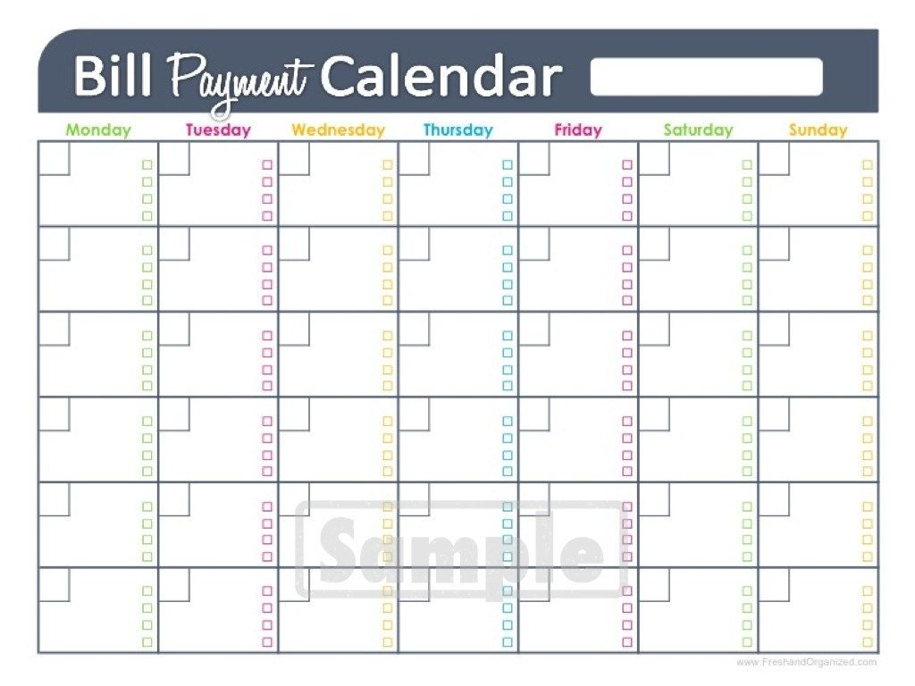 Free Printable Monthly Bill Pay Chart | Calendar Template for Monthly Bill Calendar Template