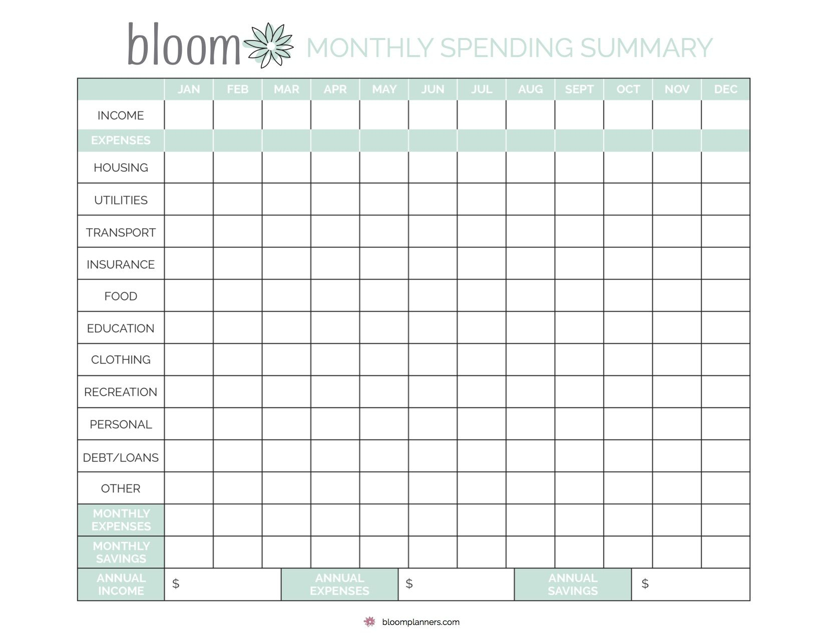 Free Printable Monthly Bill Tracking From Bloom Daily with regard to Free Bill Tracker Printable