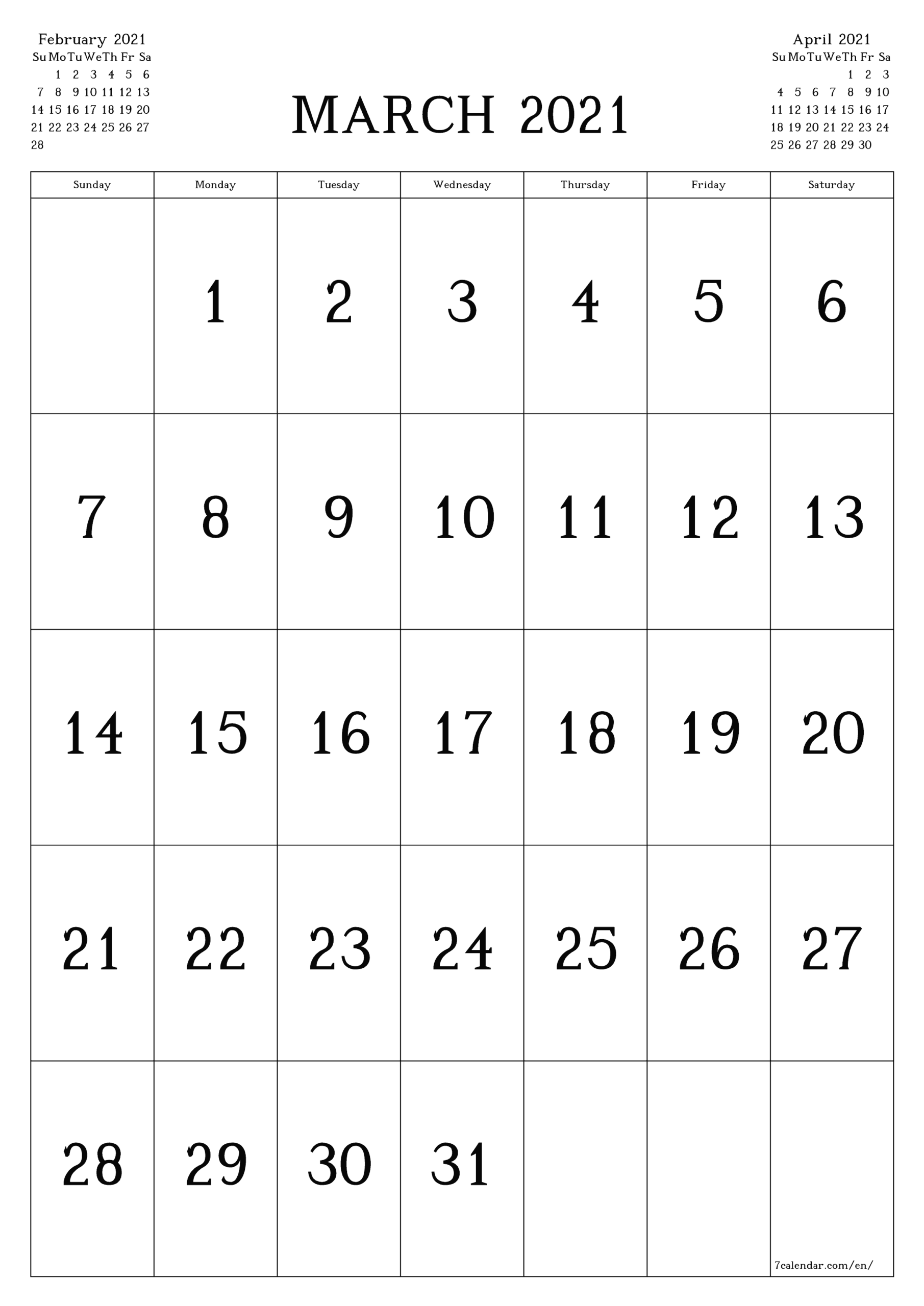 Free Printable Monthly Calendar March 2021 Printable March with Calendars Michel Zbinden