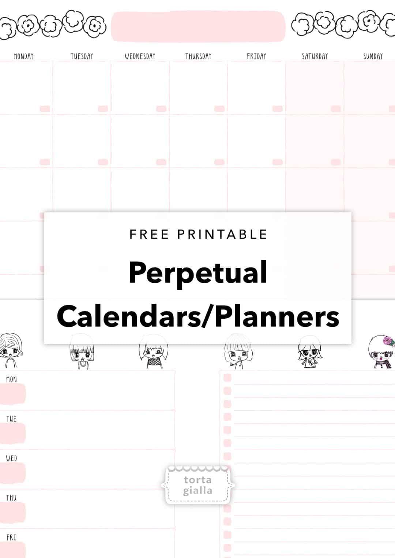 Free Printable Perpetual Calendar Planner Pages | Tortagialla with Free Perpetual Calendar Printable
