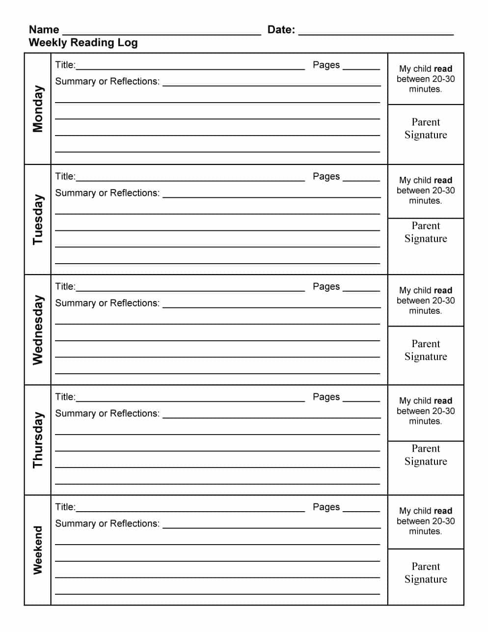Free Reading Log Template 19 | Reading Log Printable throughout Middle School Reading Log Template