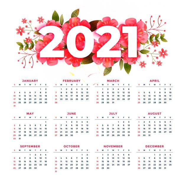 Free Vector | Flower Style 2021 Modern Calendar Stylish with regard to 2021 Calendar Vector Free