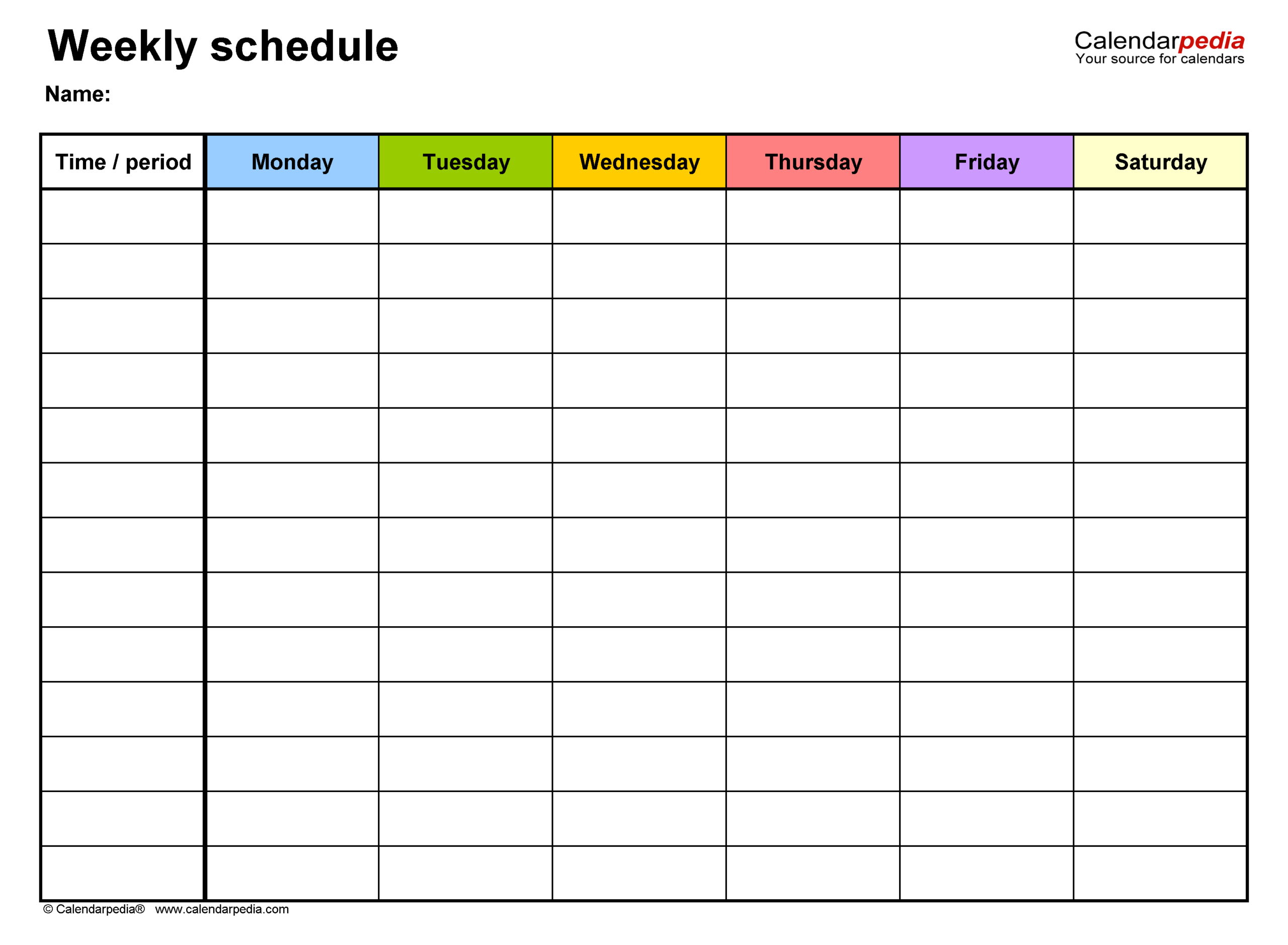 Free Weekly Schedule Templates For Excel  18 Templates inside Monday Through Friday Calendar Template Excel