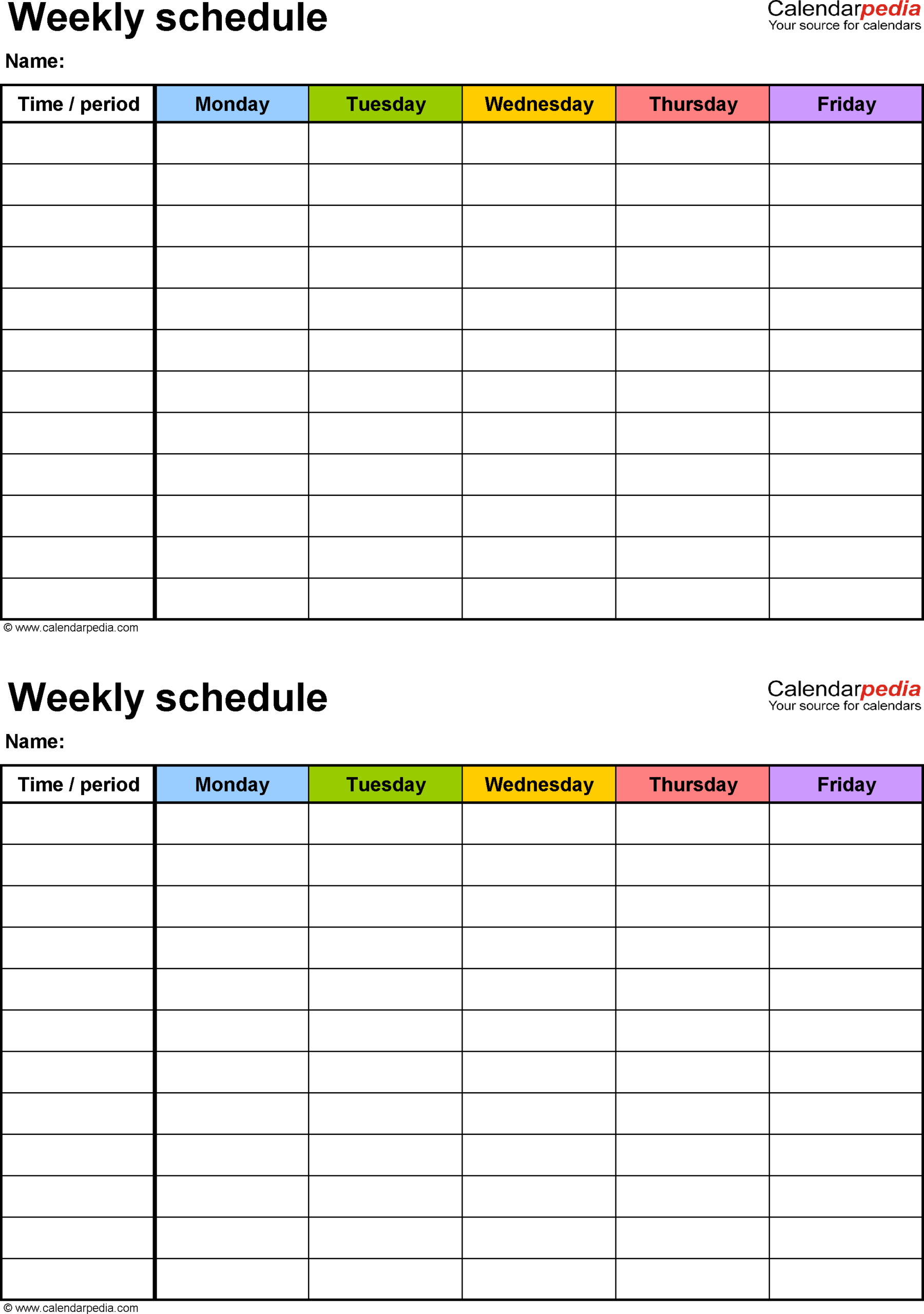 Free Weekly Schedule Templates For Excel  18 Templates within Monday Through Friday Calendar Template Excel