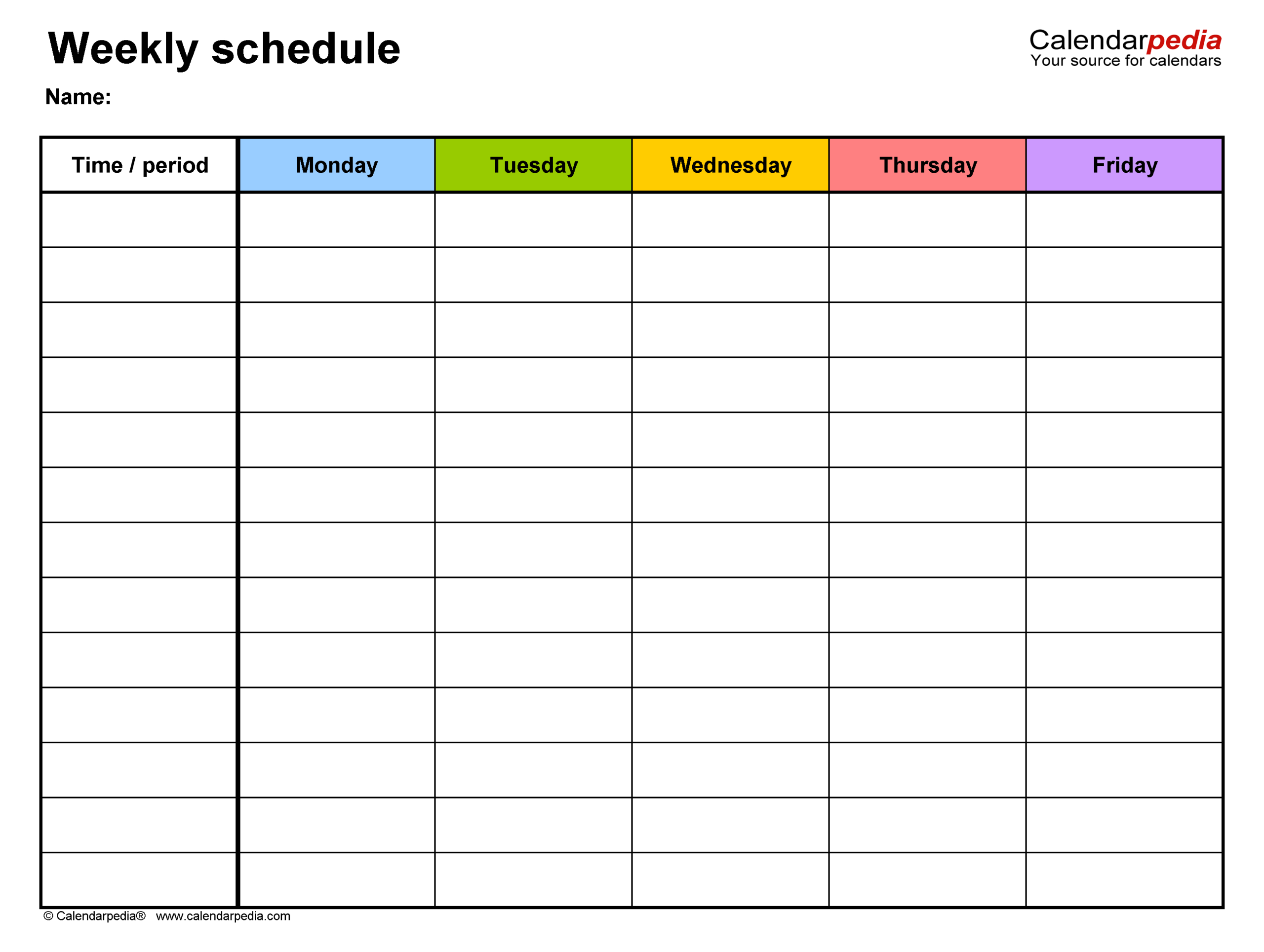 Free Weekly Schedule Templates For Word  18 Templates with Free Printable Calendar Monday Through Friday