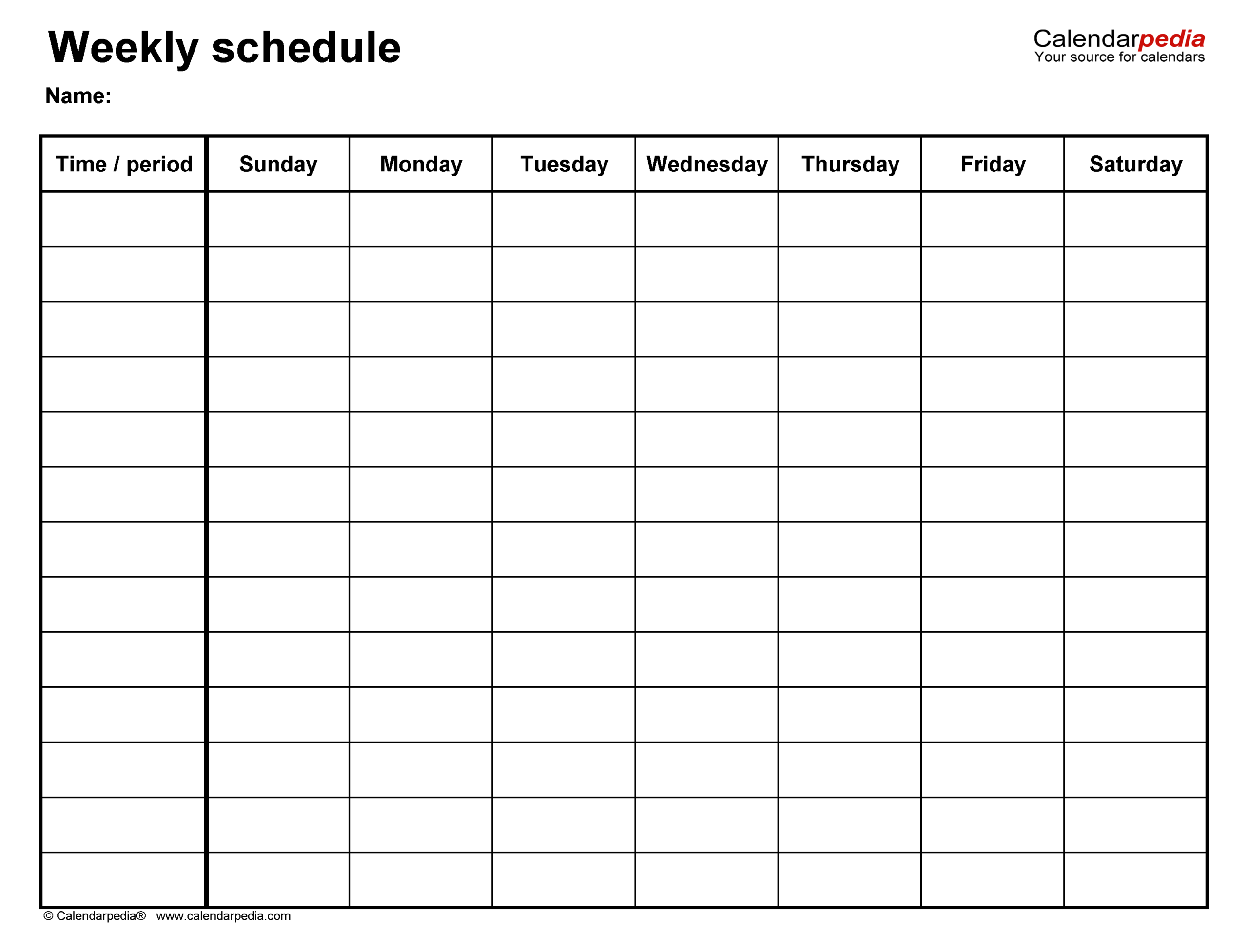Free Weekly Schedule Templates For Word  18 Templates with Saturday Through Friday Calendar