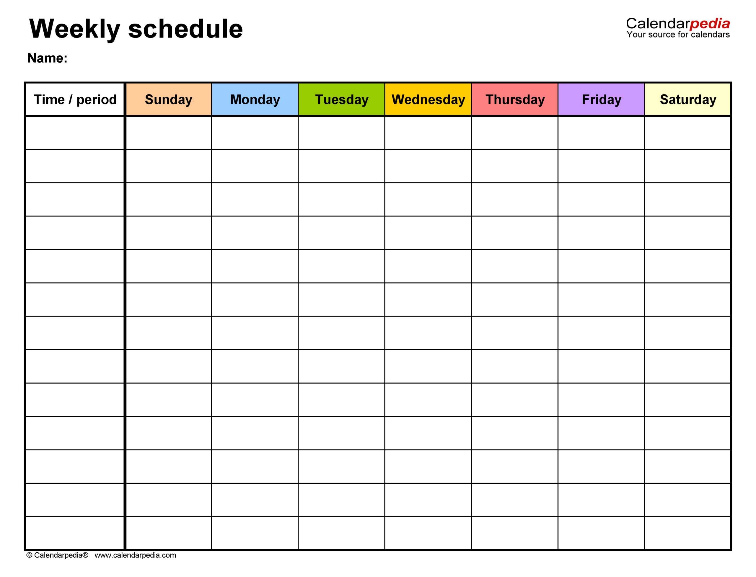 Free Weekly Schedule Templates For Word  18 Templates within Monday Through Saturday Calendar